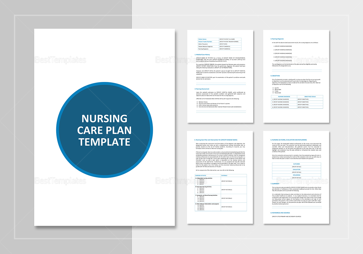 Nursing care plan template in word google docs apple pages for Nursing care plan format template