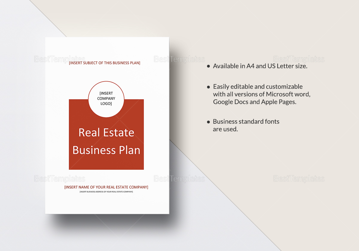 real estate business plan template in word google docs apple pages. Black Bedroom Furniture Sets. Home Design Ideas