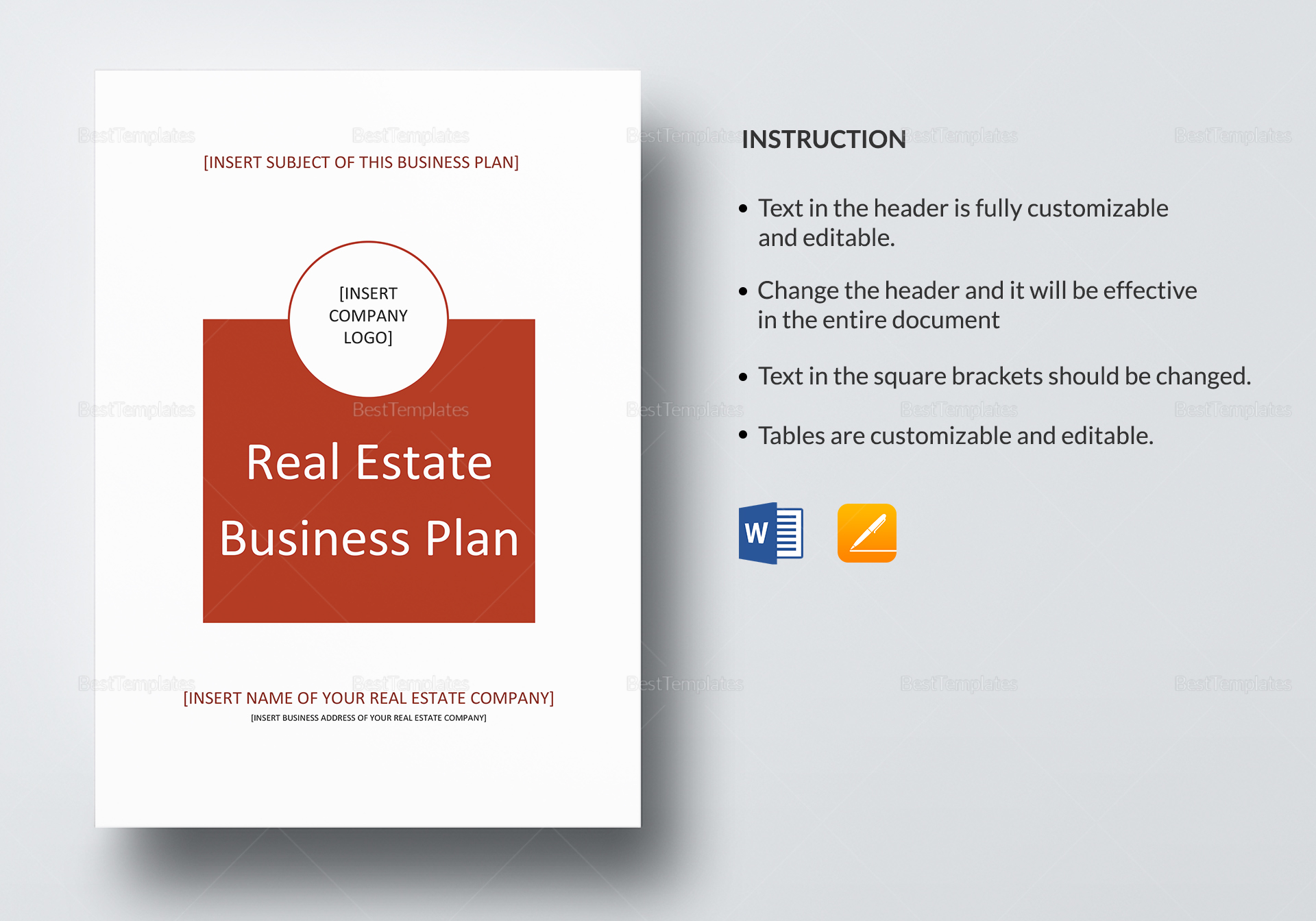 real estate business plan template in word google docs