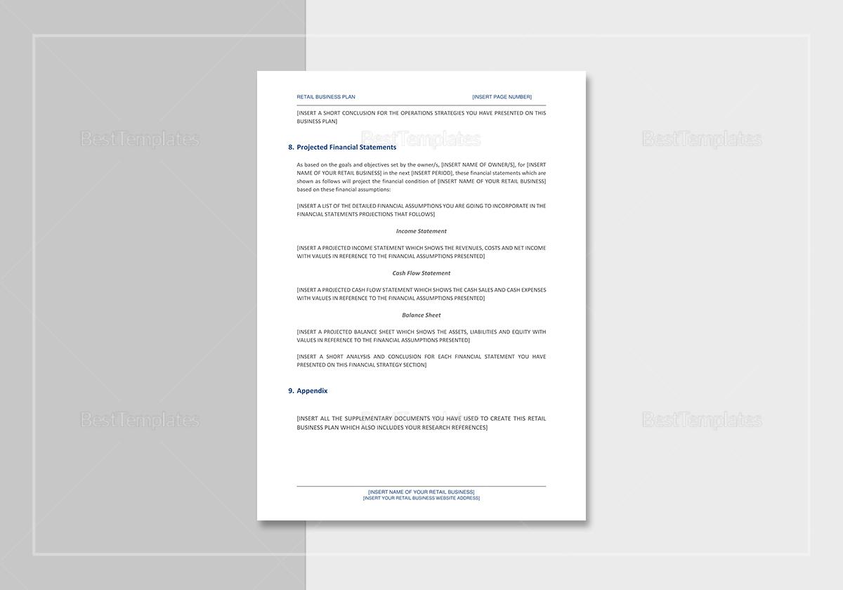 Printable Retail Business Plan Template