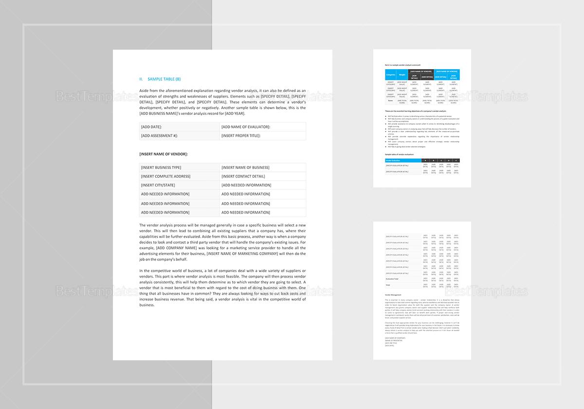 Simple Vendor Analysis Template