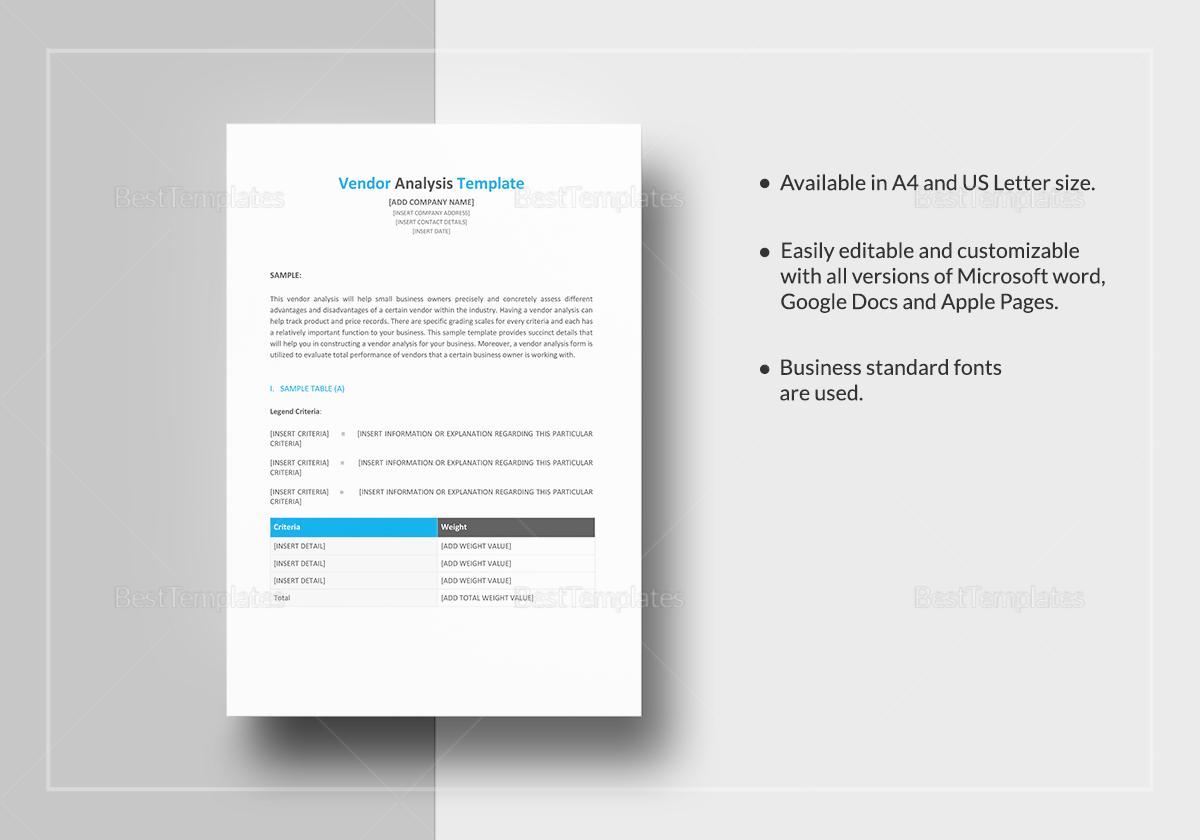 Vendor Analysis Template; Vendor Analysis Template ...