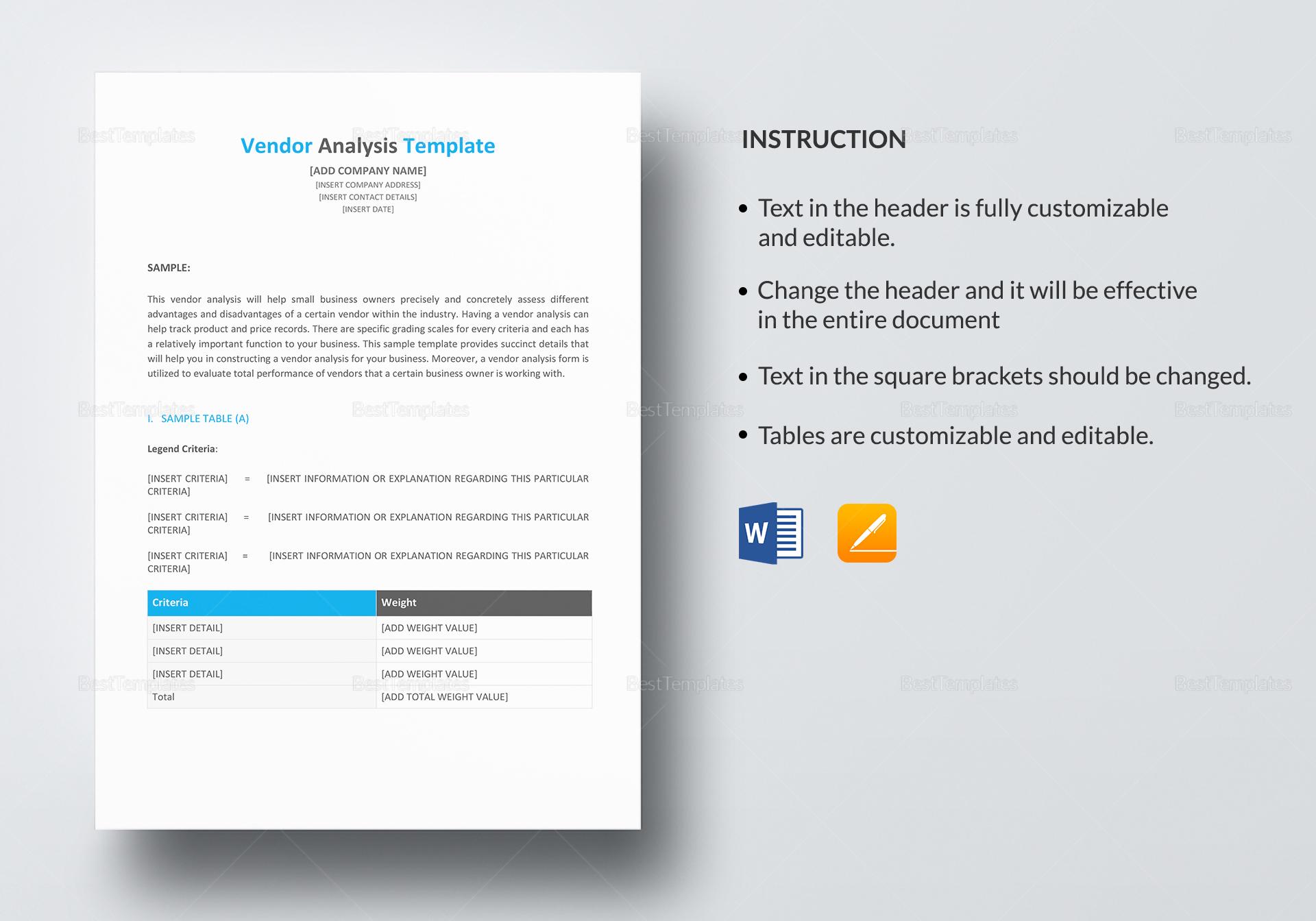 Vendor Analysis Template; Vendor Analysis Template; Vendor Analysis Template