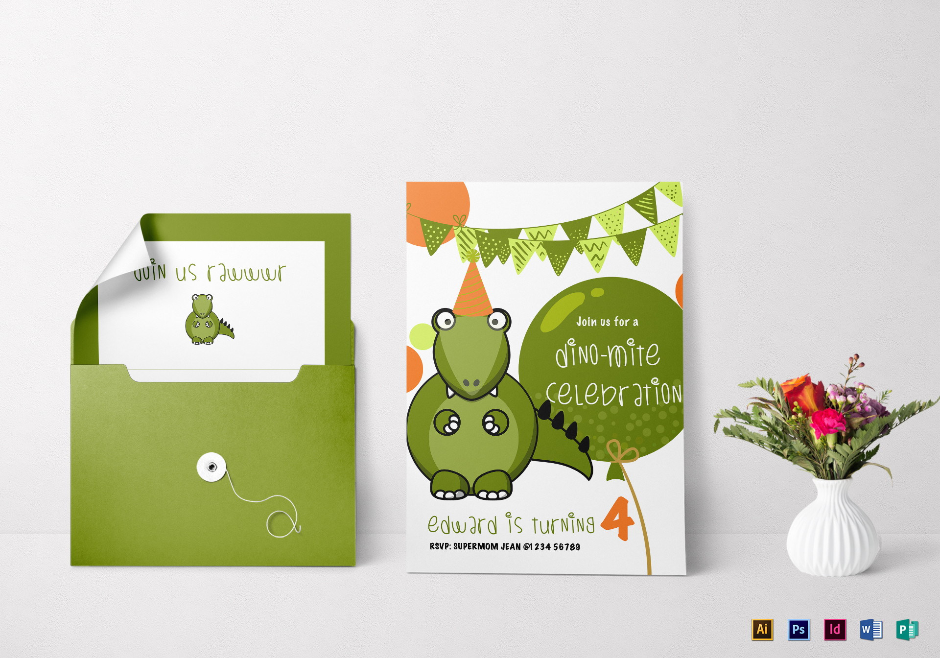 dinosaur birthday party invitation design template in psd word