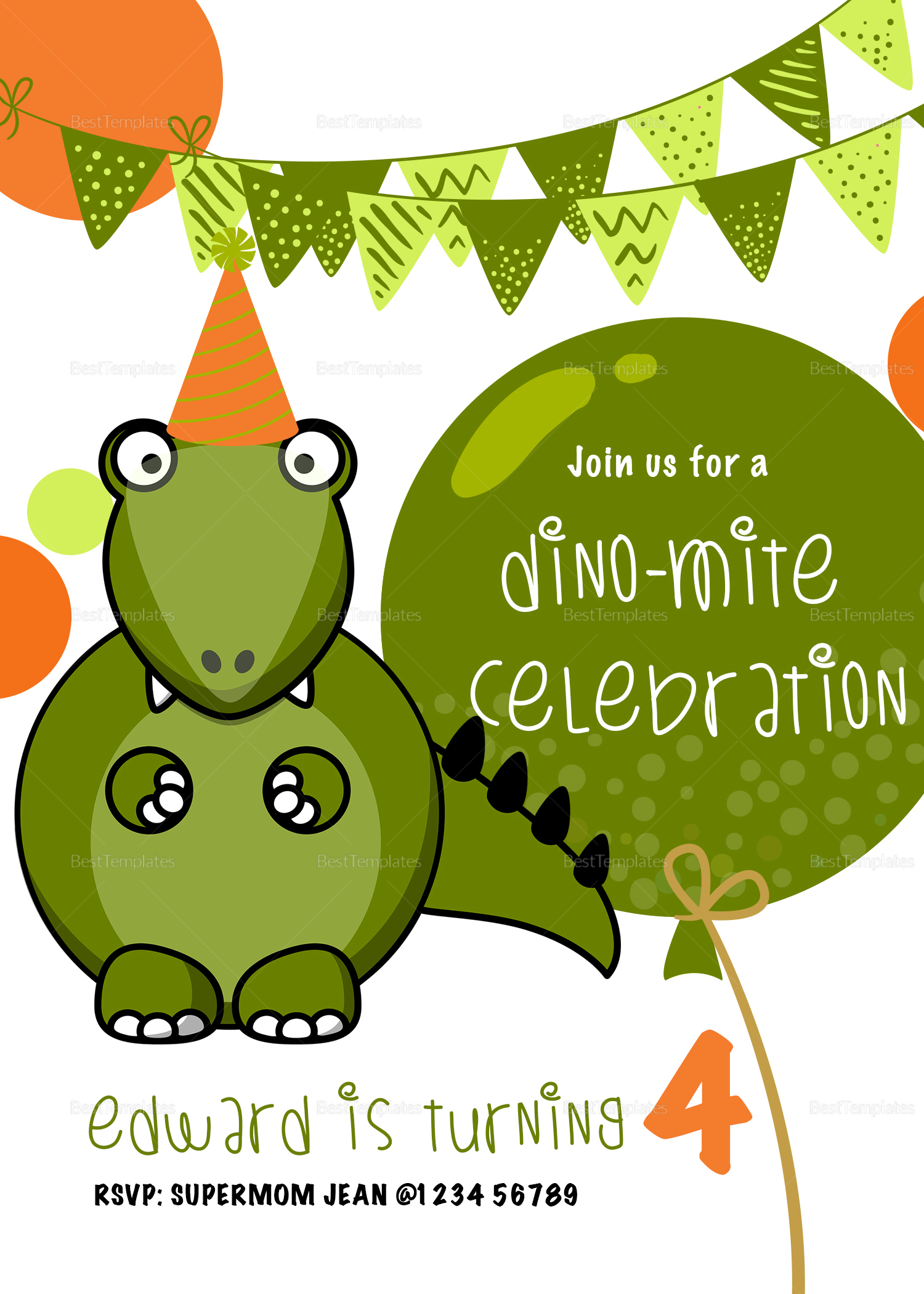 Dinosaur Birthday Party Invitation Design Template in PSD, Word ...
