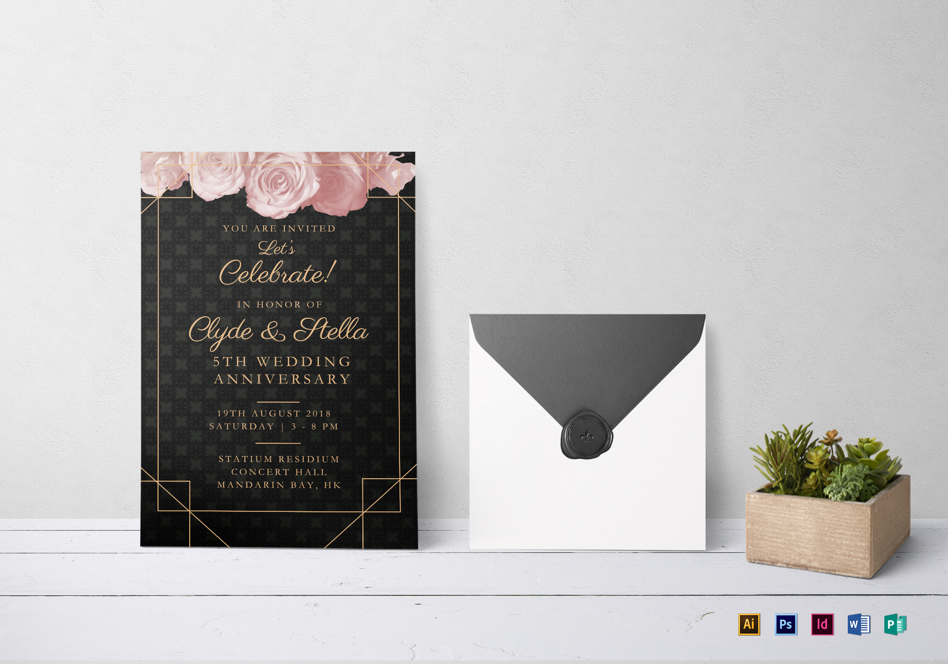 Elegant Wedding Anniversary Invitation Design Template in PSD Word