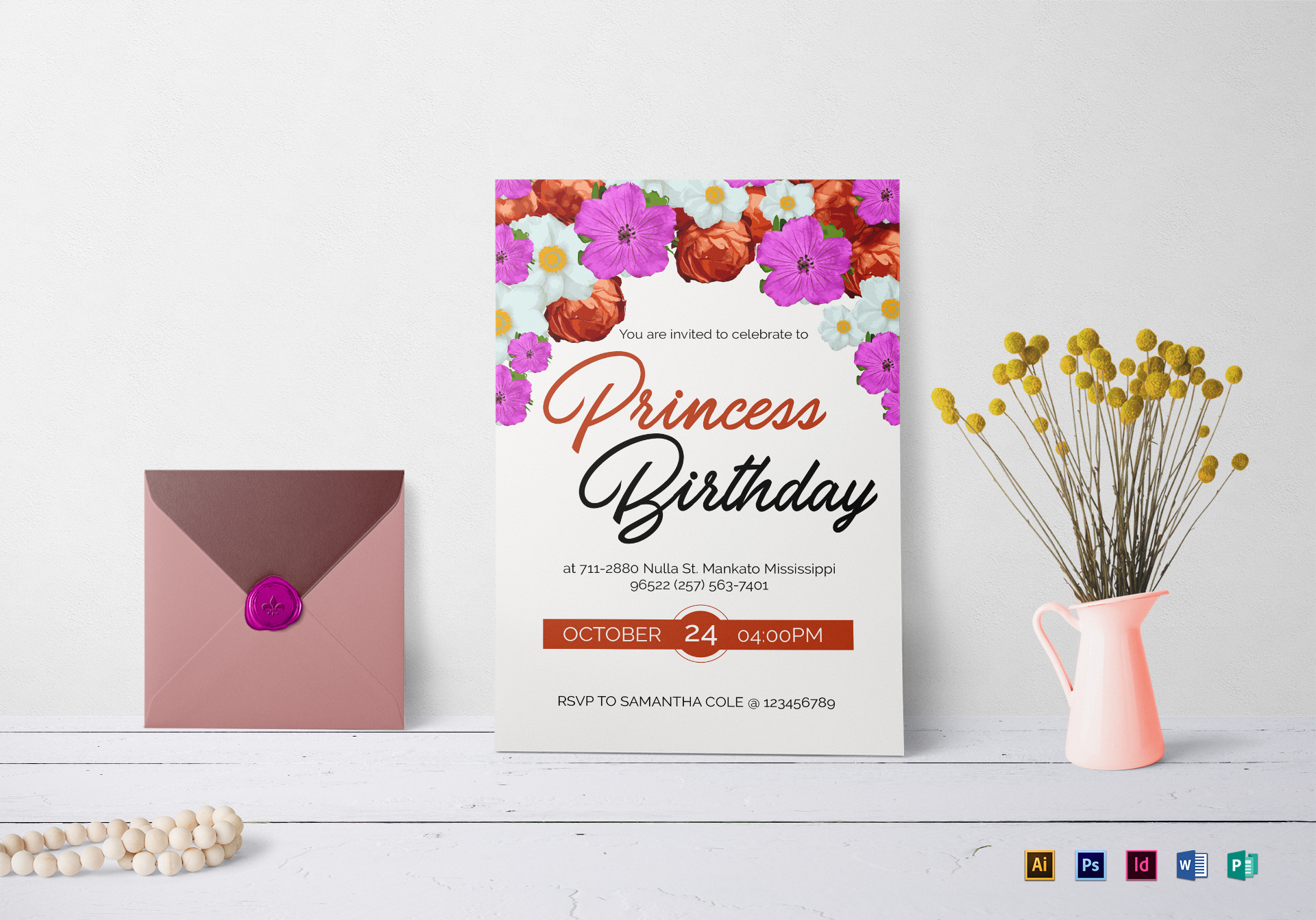 Floral Birthday Invitation Template