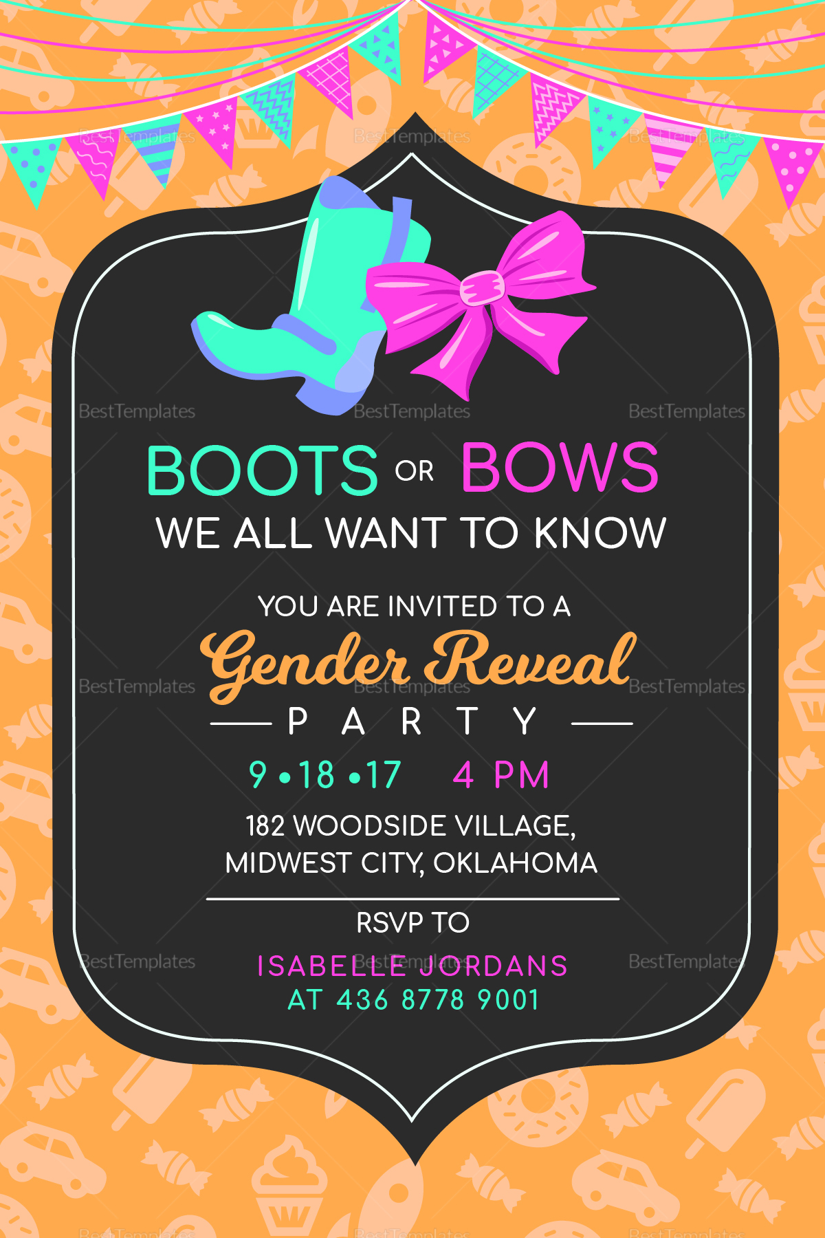 boots or bows gender reveal invitation design template in