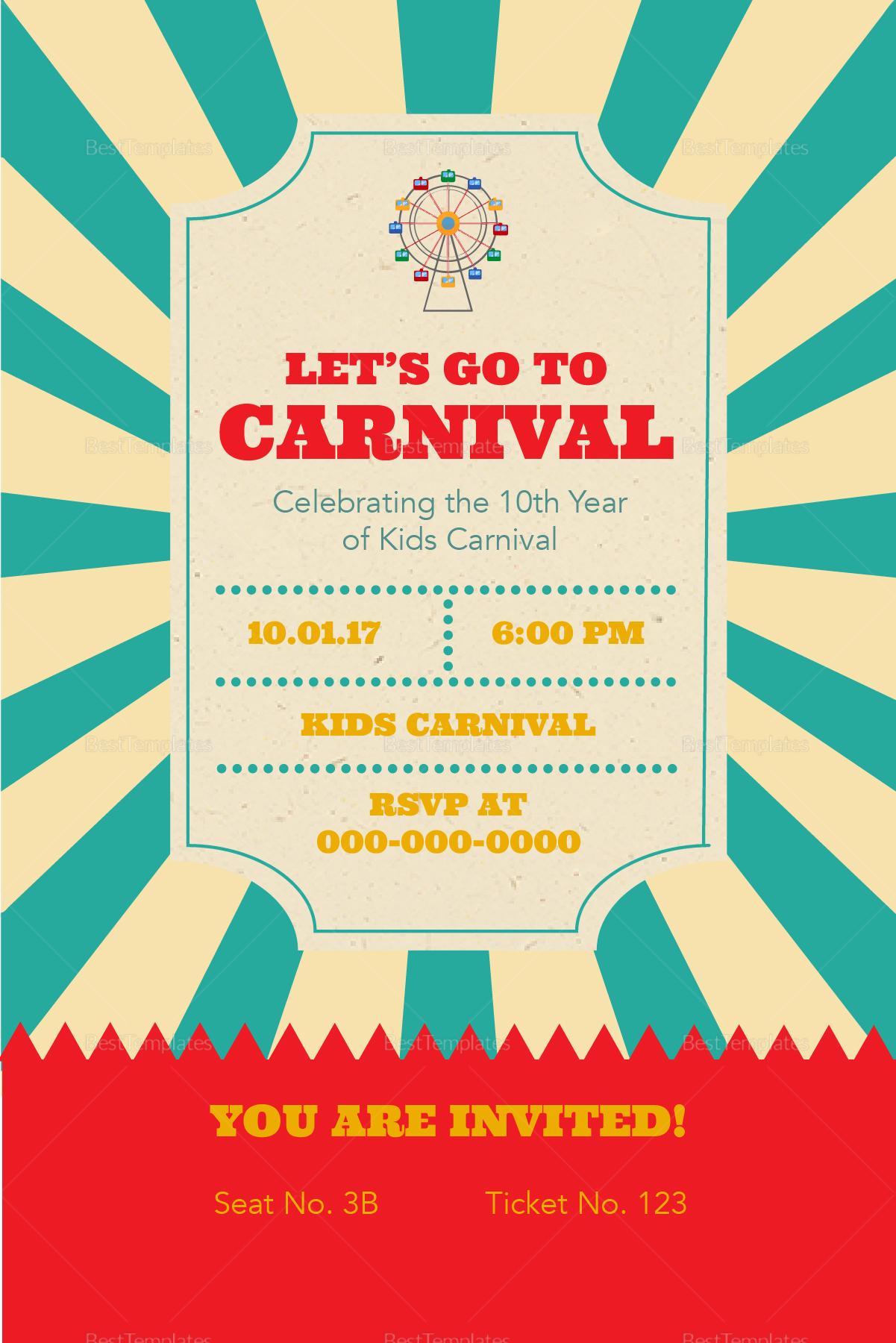 carnival ticket invitation design template in psd word. Black Bedroom Furniture Sets. Home Design Ideas