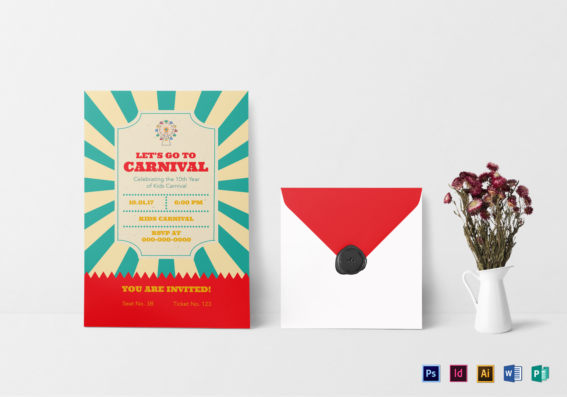 Carnival Ticket Invitation Design Template in PSD, Word, Publisher ...