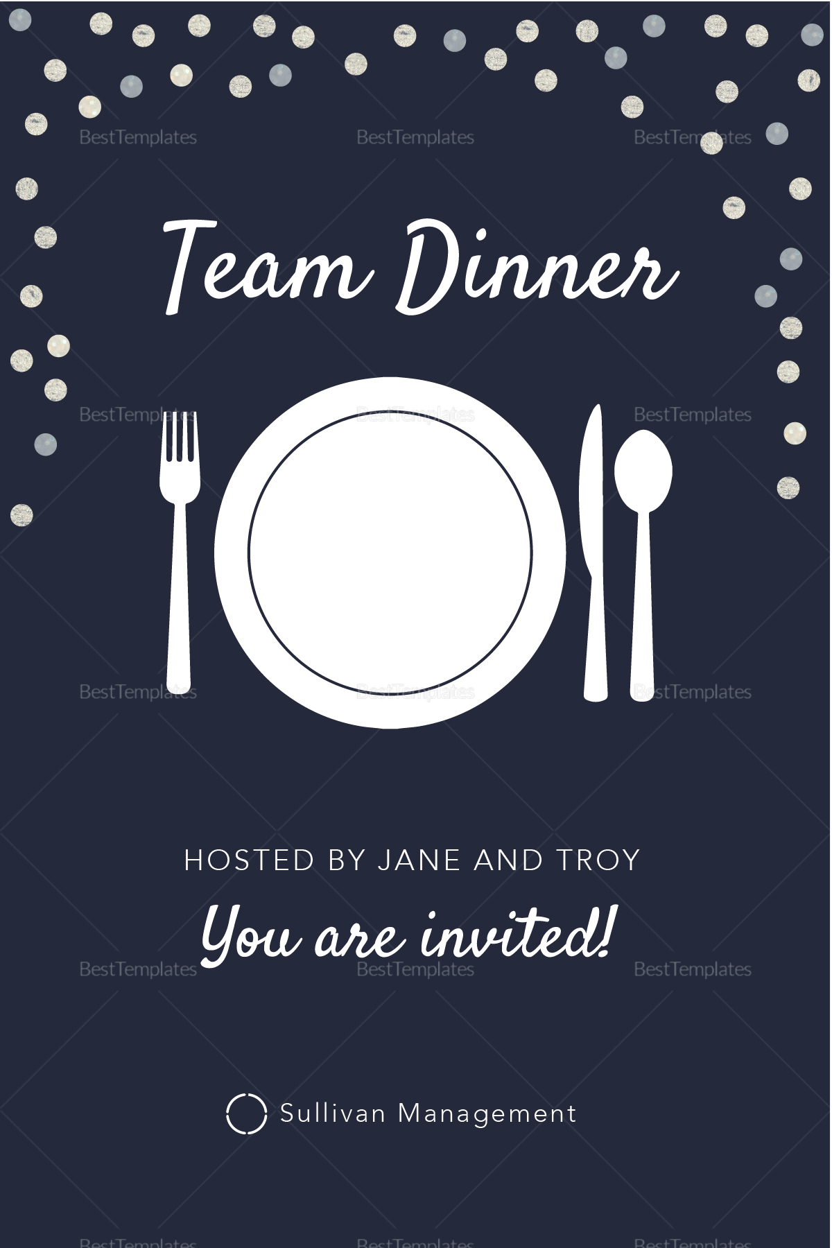 Elegant Team Dinner Invitation Template