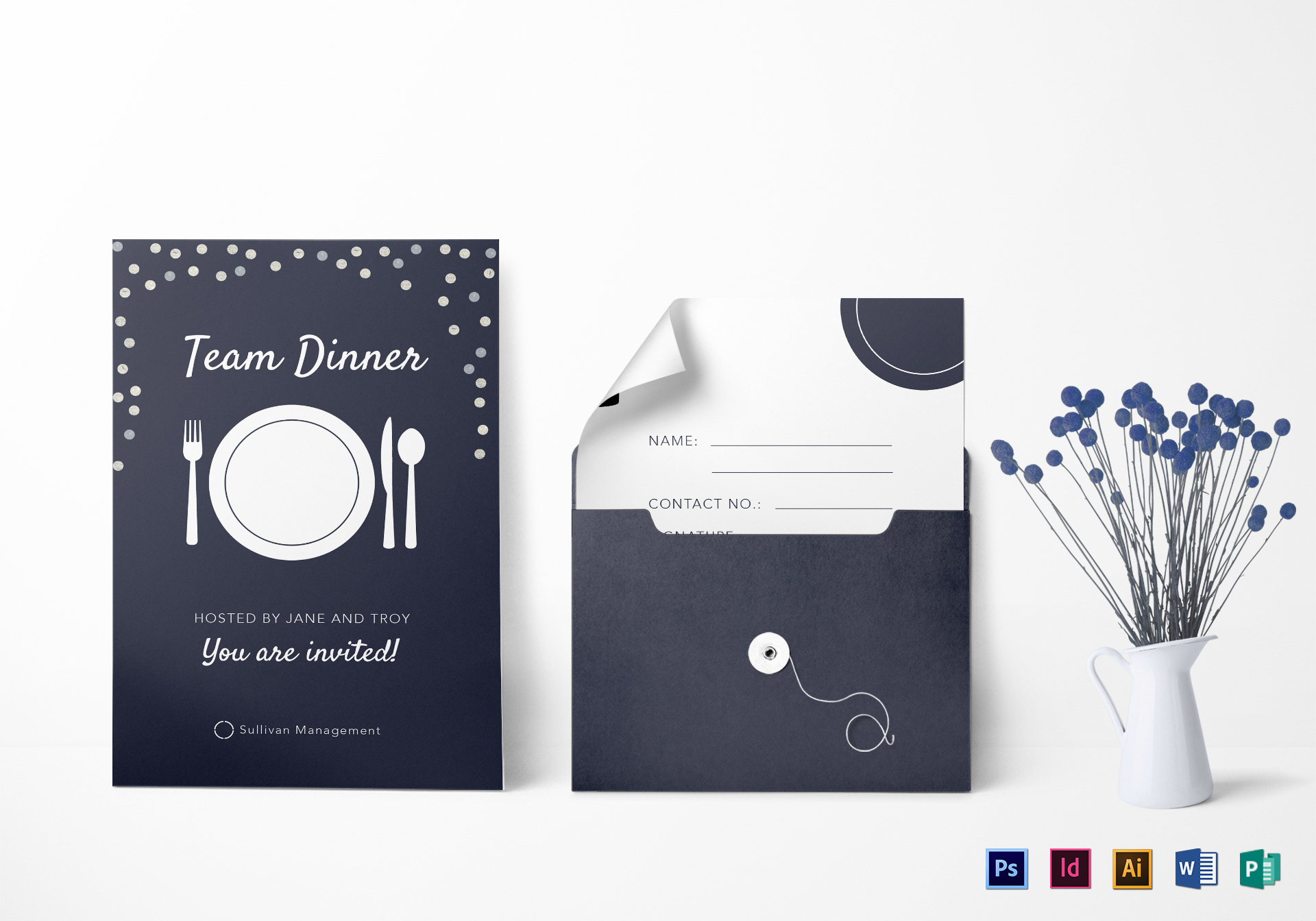 Elegant Team Dinner Invitation Template  Dinner Invitation Template