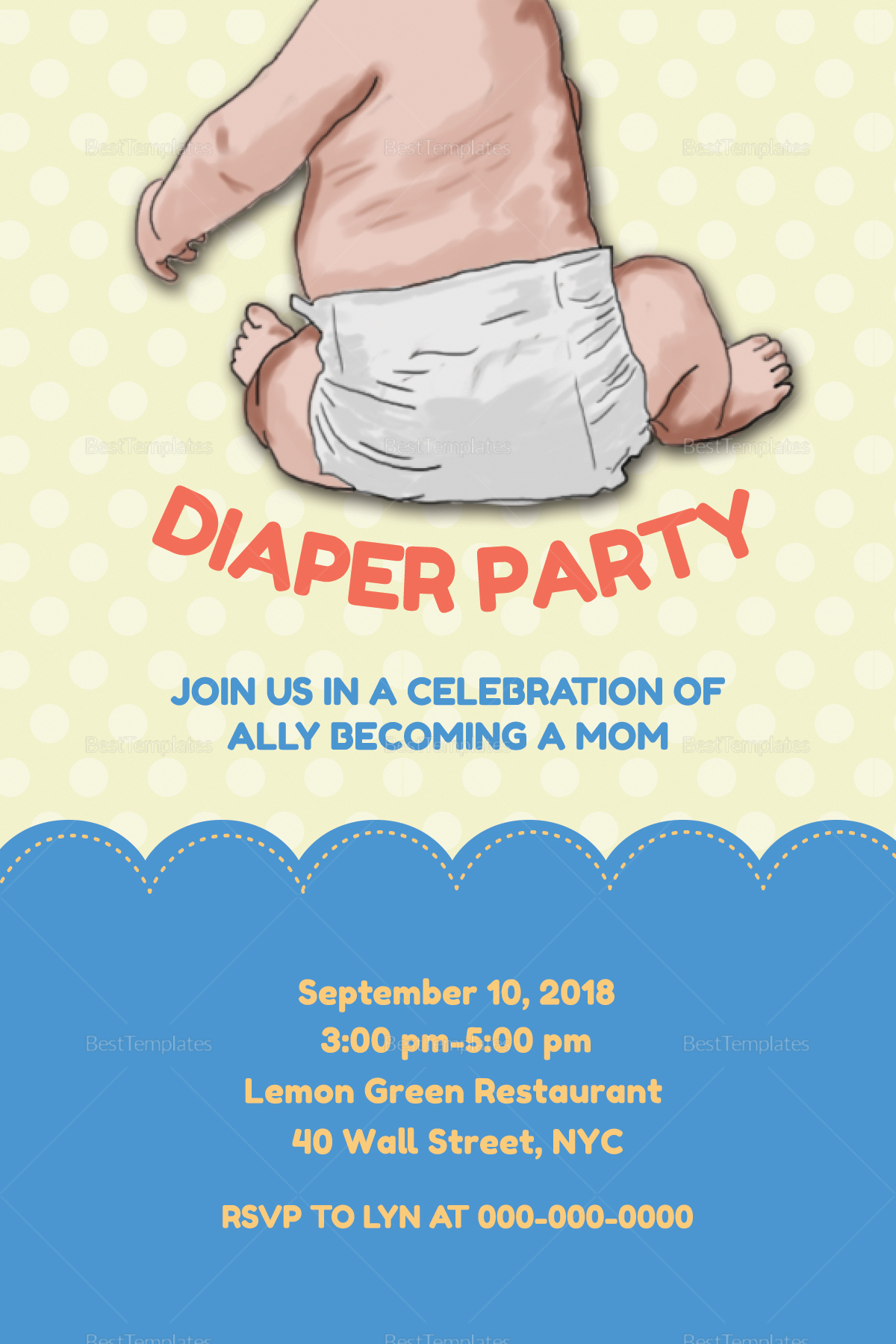 This is an image of Clever Free Printable Diaper Party Invitation Templates