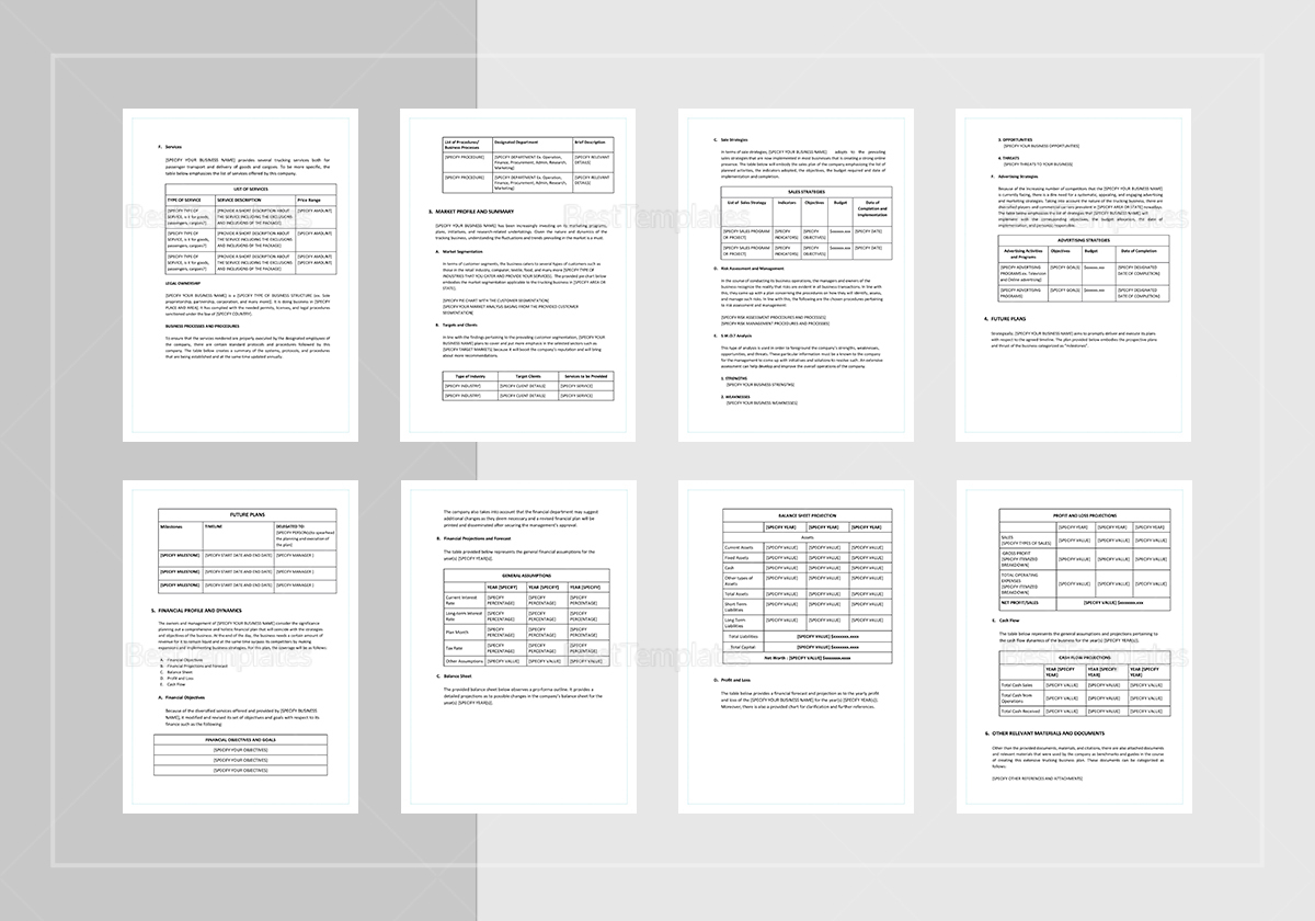 Trucking Business Plan Template to Print