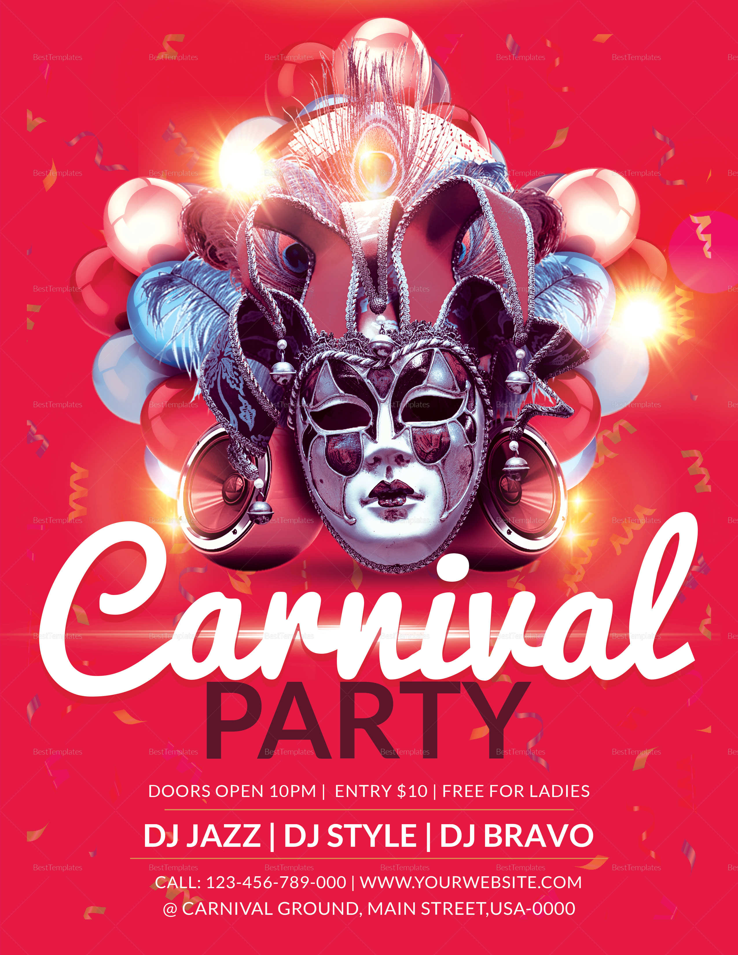 Carnival Party Flyer Design Template in Word, PSD, Publisher
