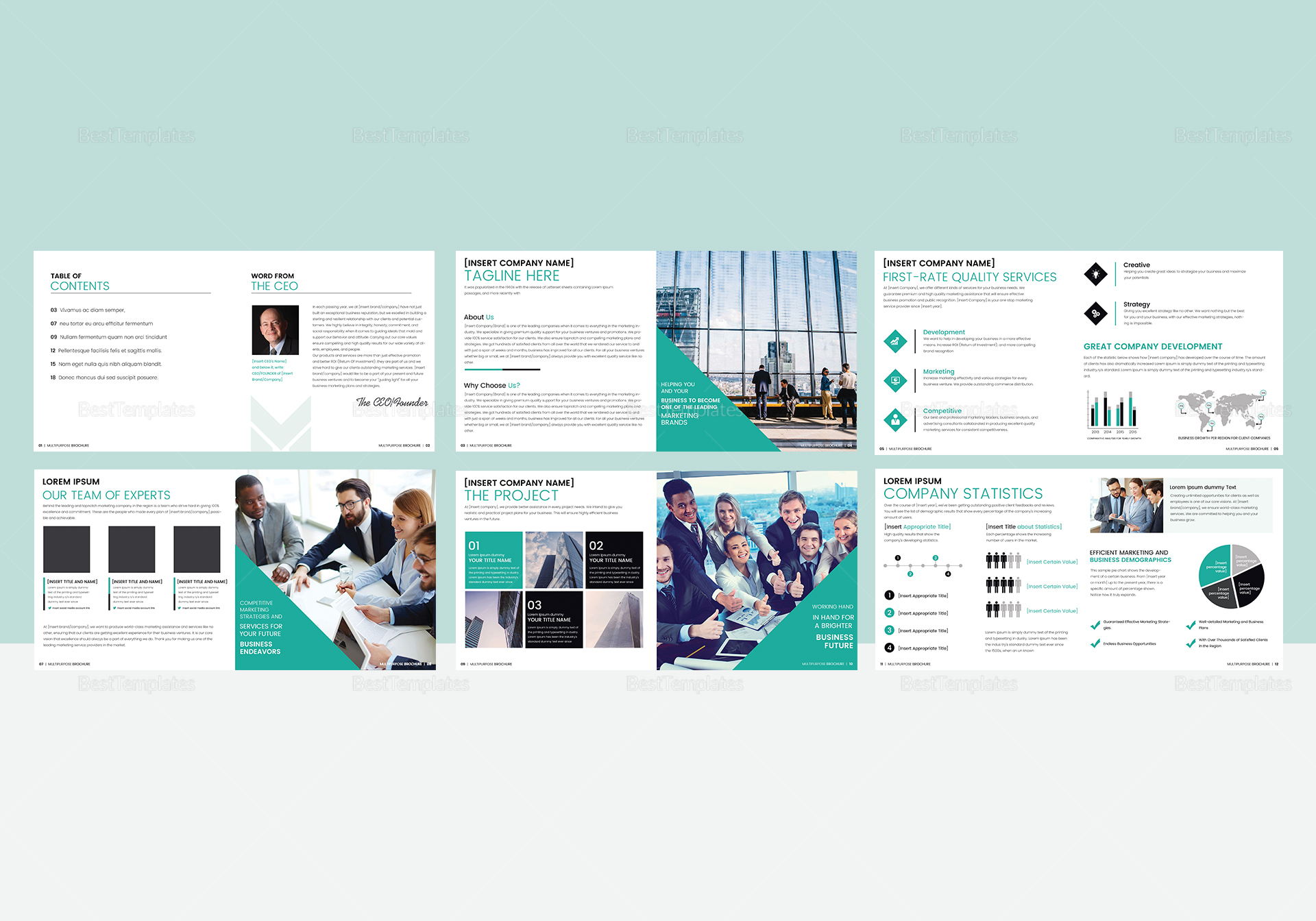 Multipurpose Square Brochure Catalog Template In Psd Word