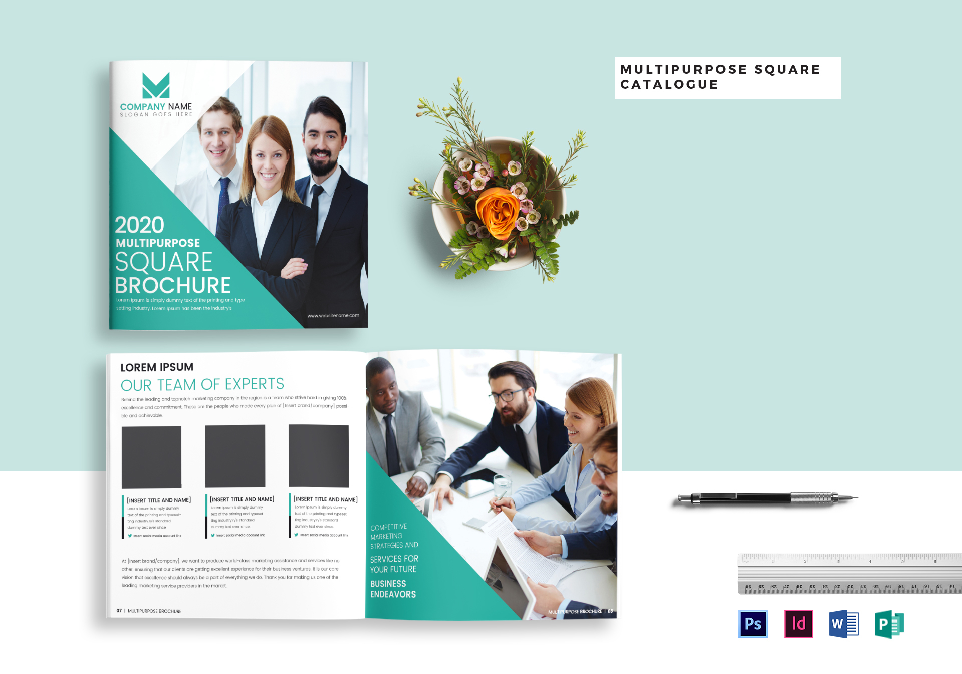 Multipurpose Square Brochure Catalog Template In Psd Word
