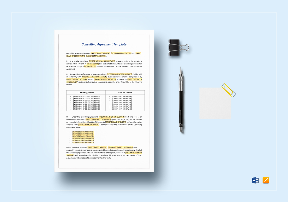 consulting agreement template in word google docs apple. Black Bedroom Furniture Sets. Home Design Ideas