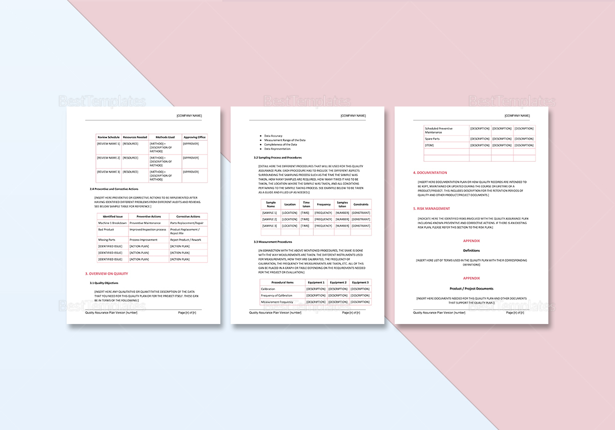 Simple Quality Assurance Plan Template
