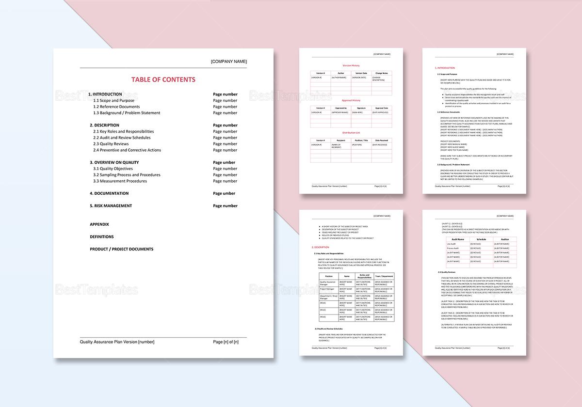 Sample Quality Assurance Plan