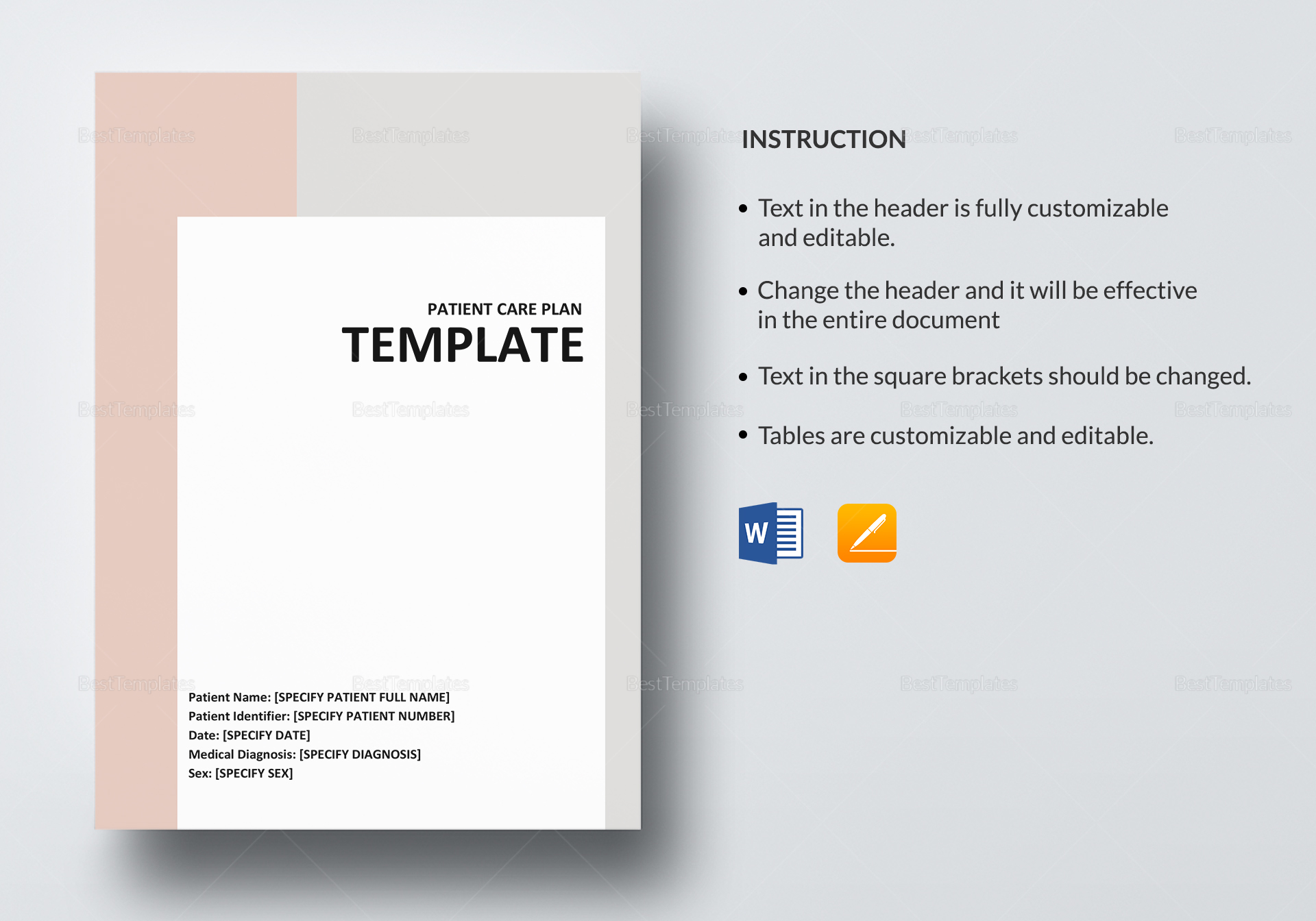 Simple Patient Care Plan Template