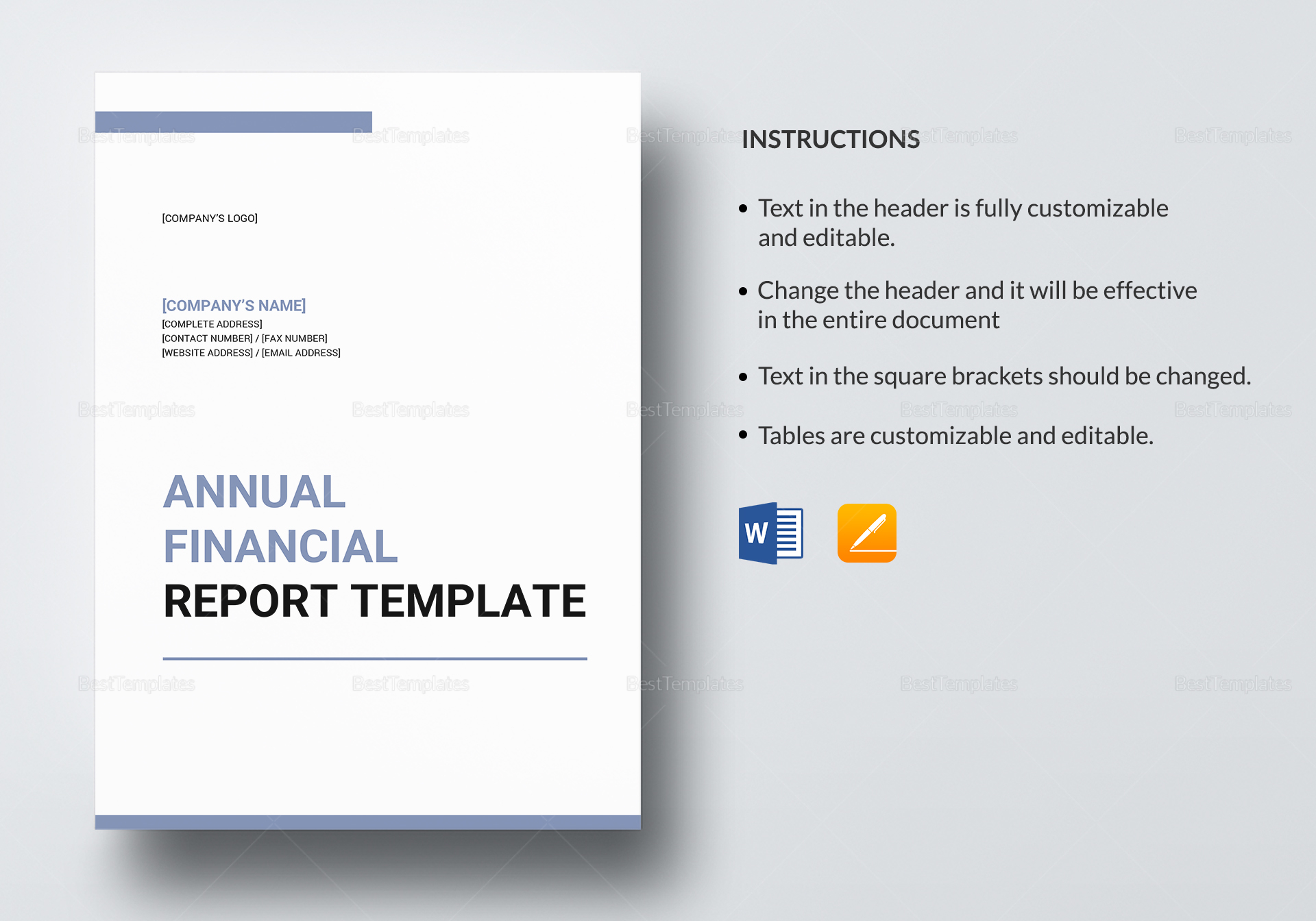 Editable Annual Financial Report Template