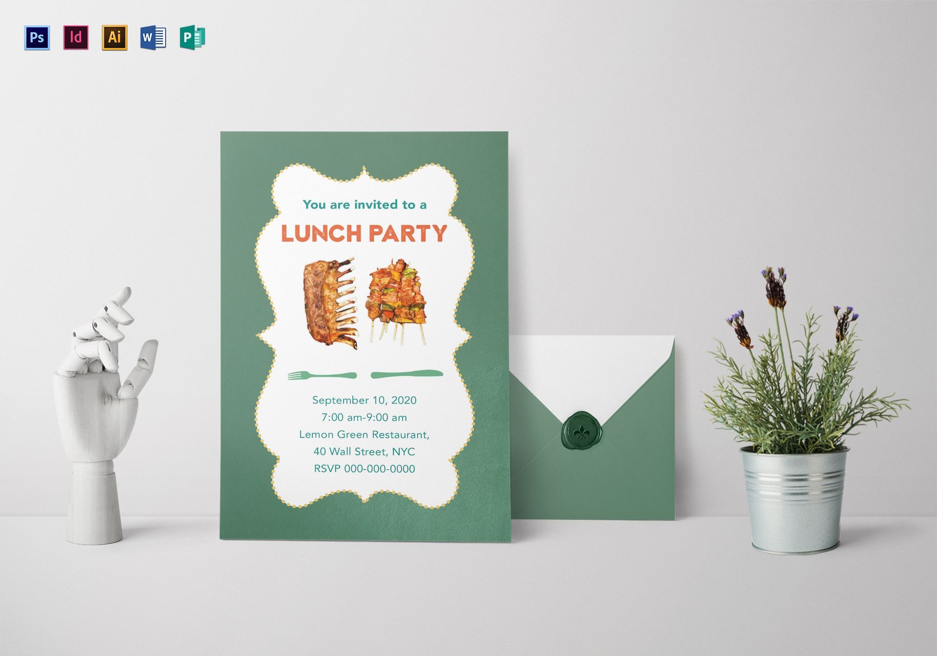 Lunch Party Invitation Design Template in PSD, Word, Publisher ...