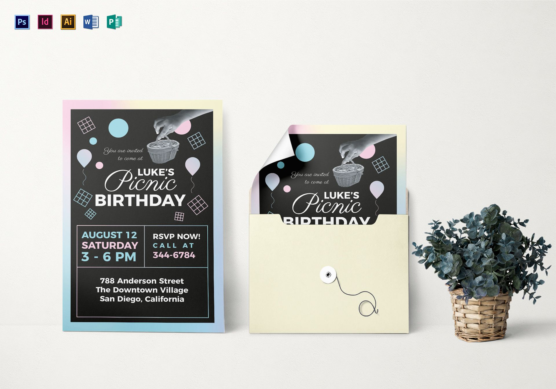 Picnic Birthday Party Invitation Template