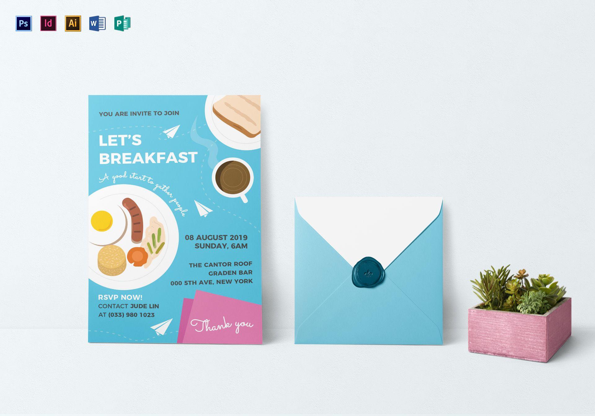 Sample breakfast invitation design template in psd word publisher sample breakfast invitation template stopboris Choice Image