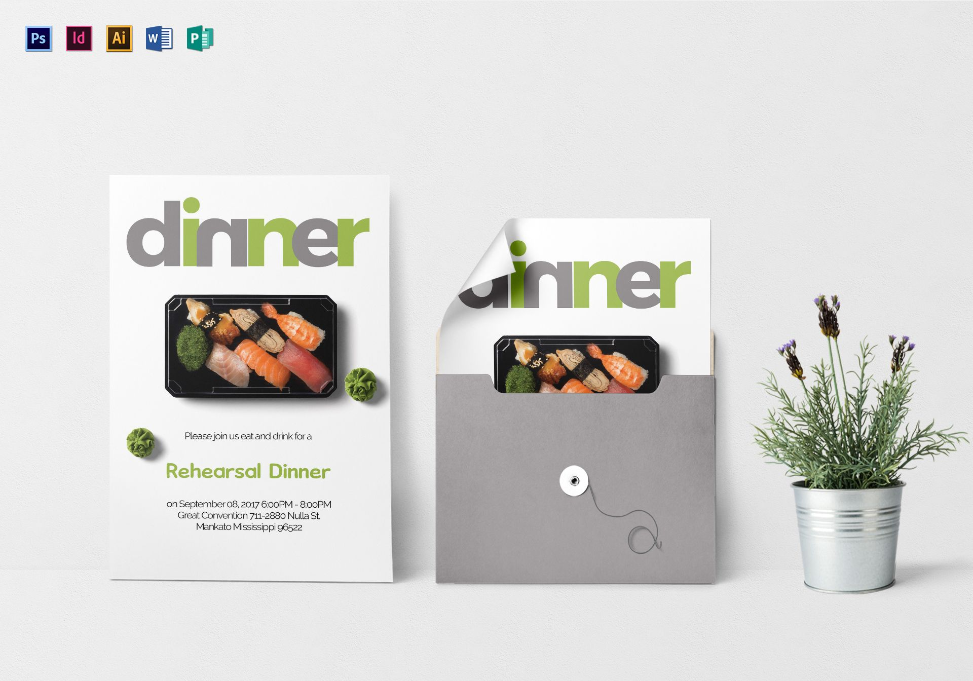 Drinks And Dinner Invitation Design Template In Psd Word Publisher
