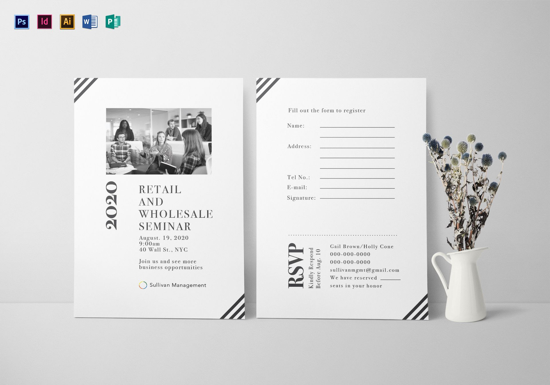 Seminar Invitation Card Design Template in PSD Word Publisher