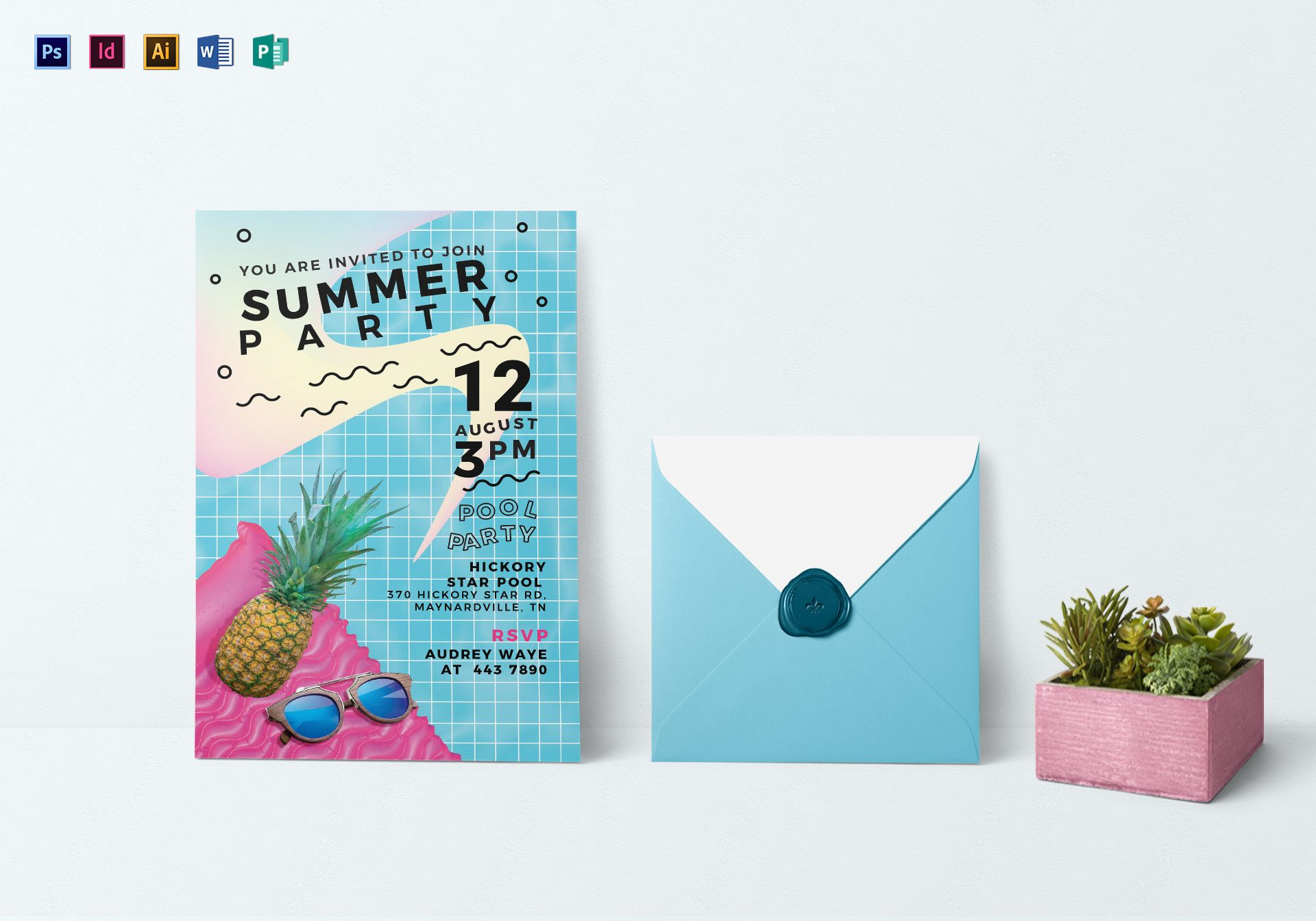 Tropical Summer Party Invitation Template