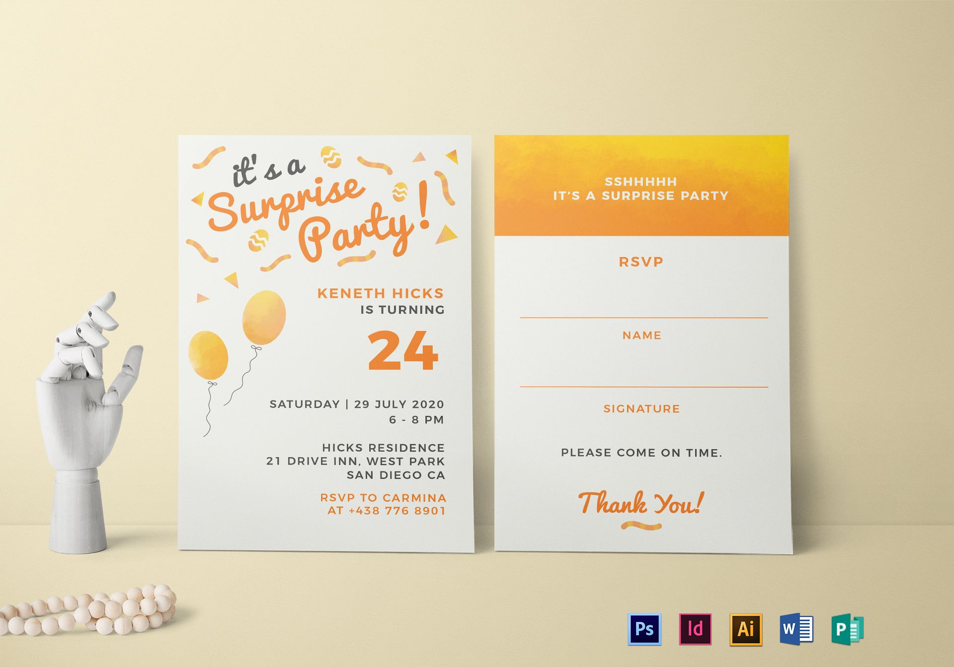 surprise birthday party invitation design template in psd