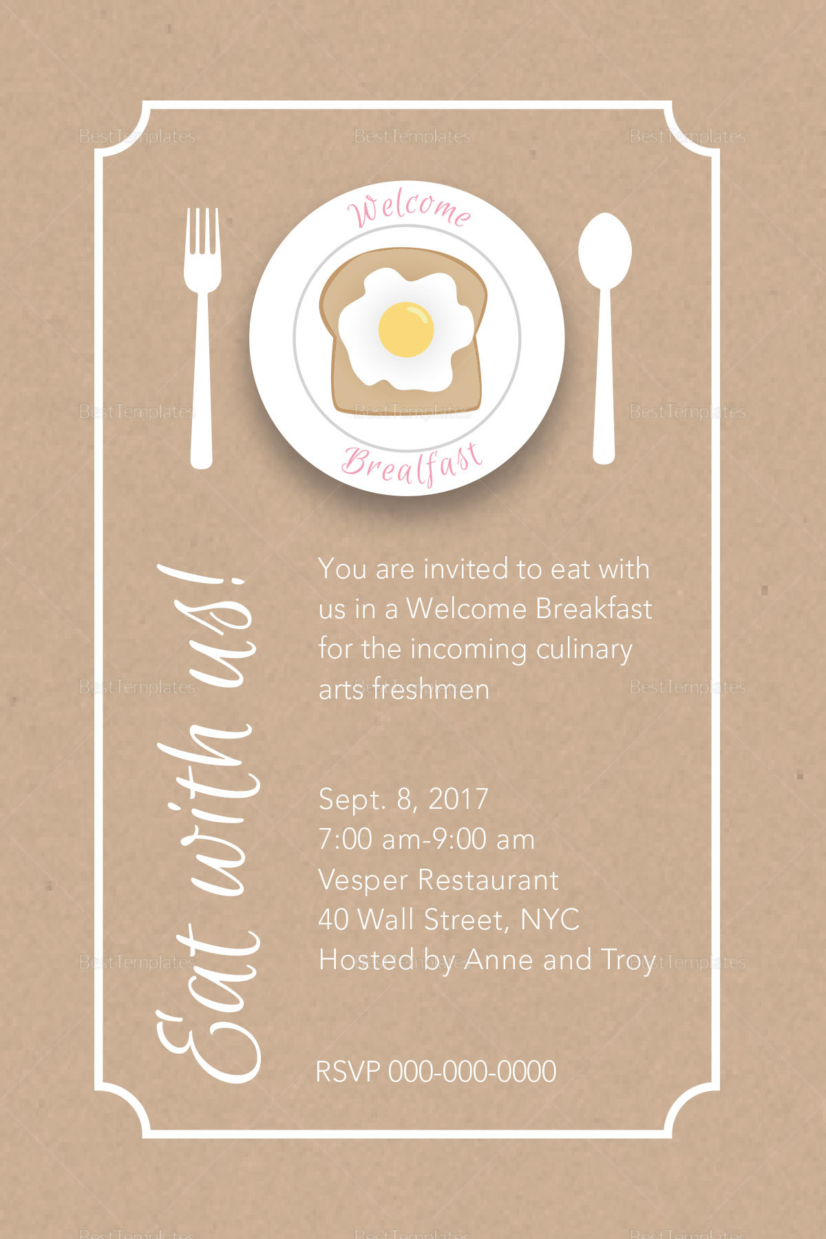 breakfast invitation 6 holiday breakfast invitations jpg vector eps ai stylish brown white. Black Bedroom Furniture Sets. Home Design Ideas