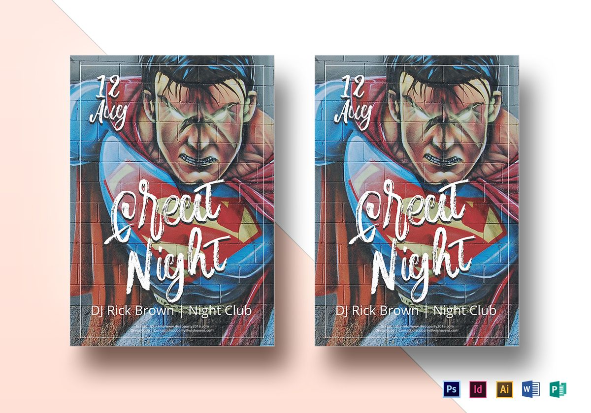 Superhero Party Flyer Template