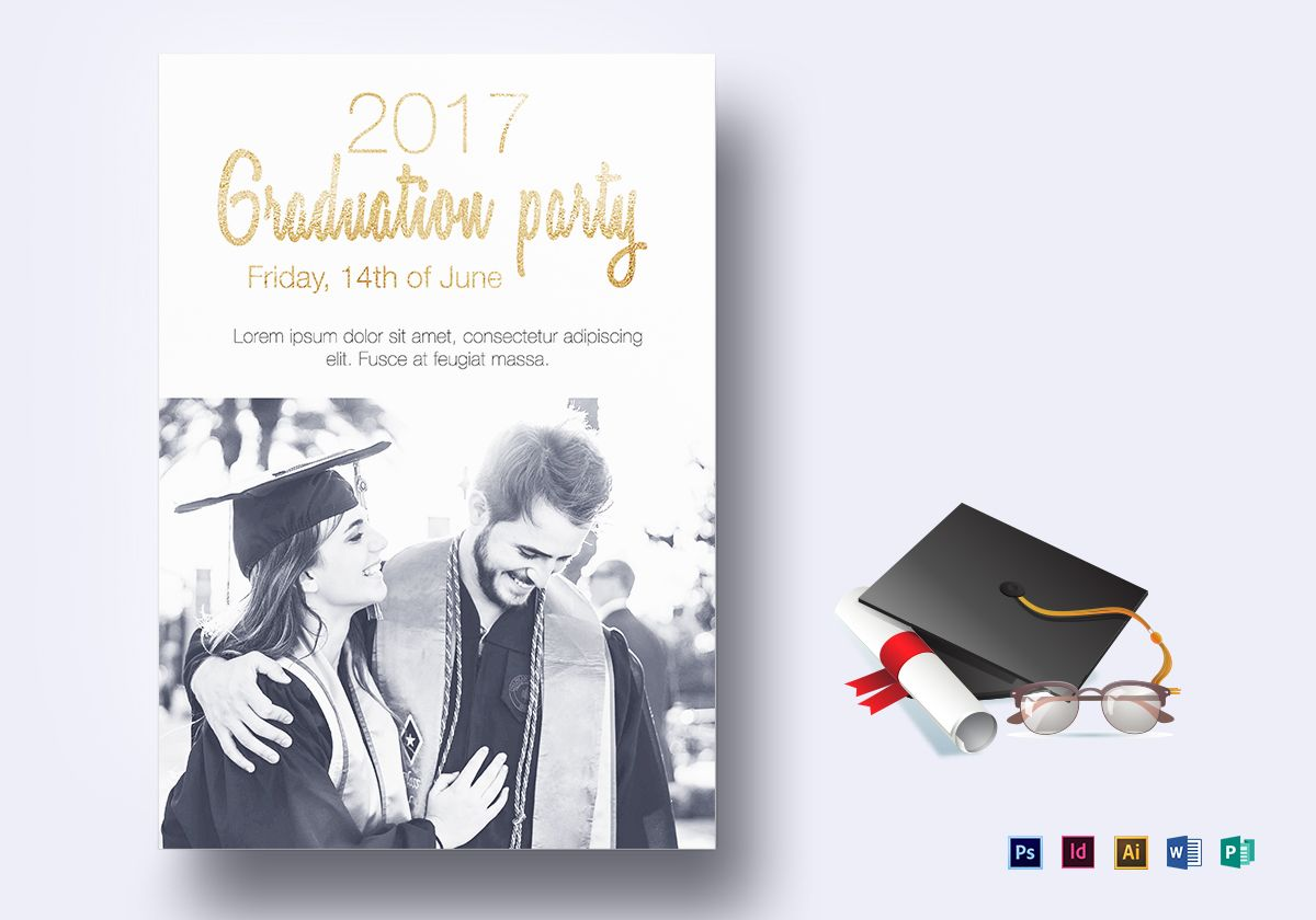 Graduation Party Flyer Design Template In Psd Word Publisher