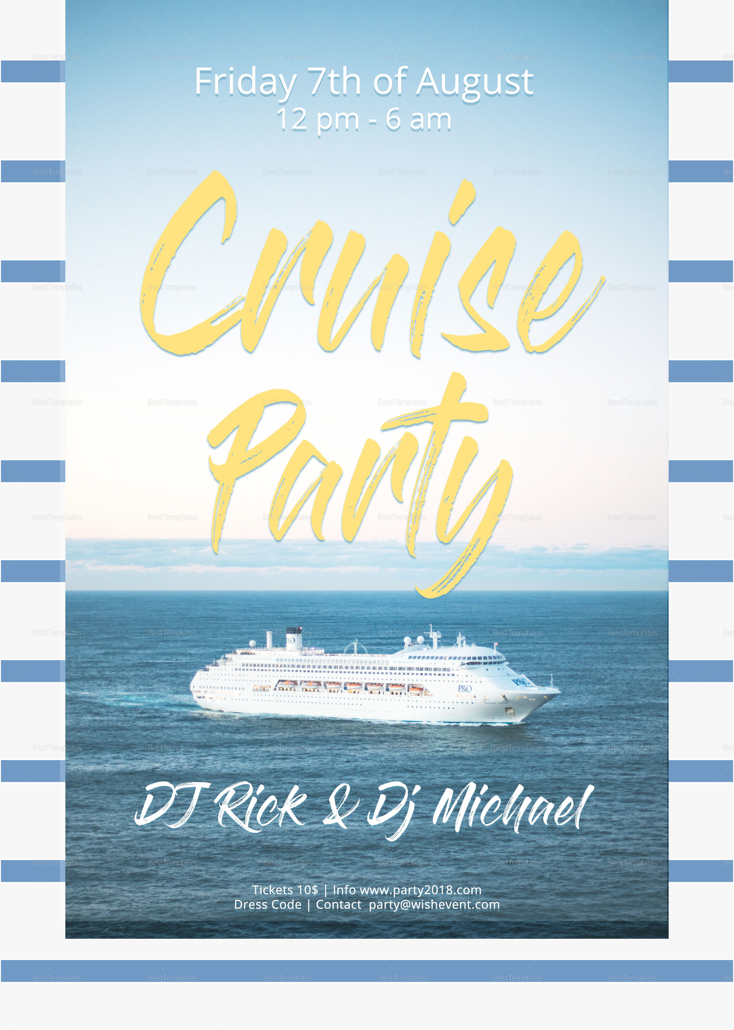 summer cruise party flyer design template in psd  word