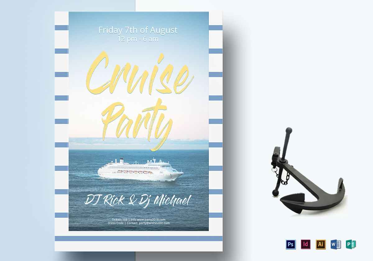 Summer Cruise Party Flyer Design Template In Psd Word Publisher