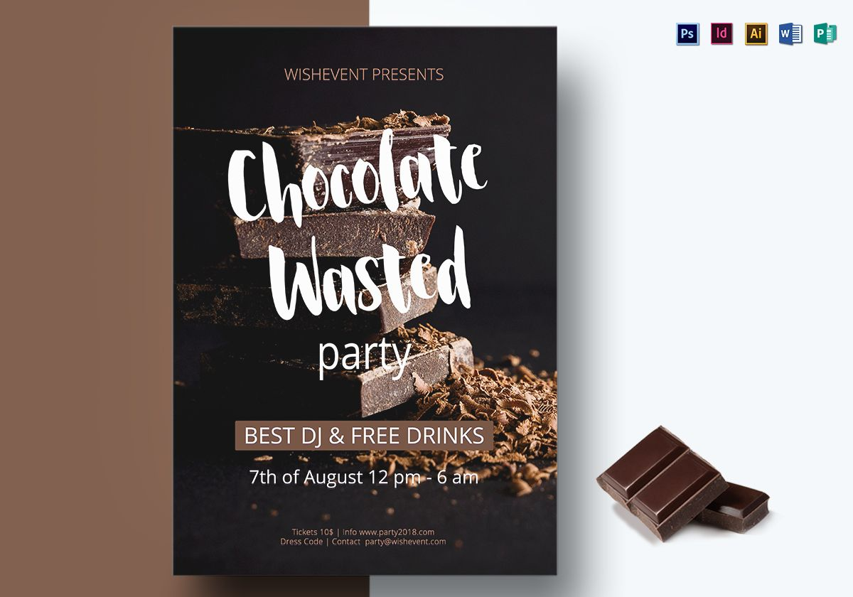 Chocolate Wasted Party Flyer Template