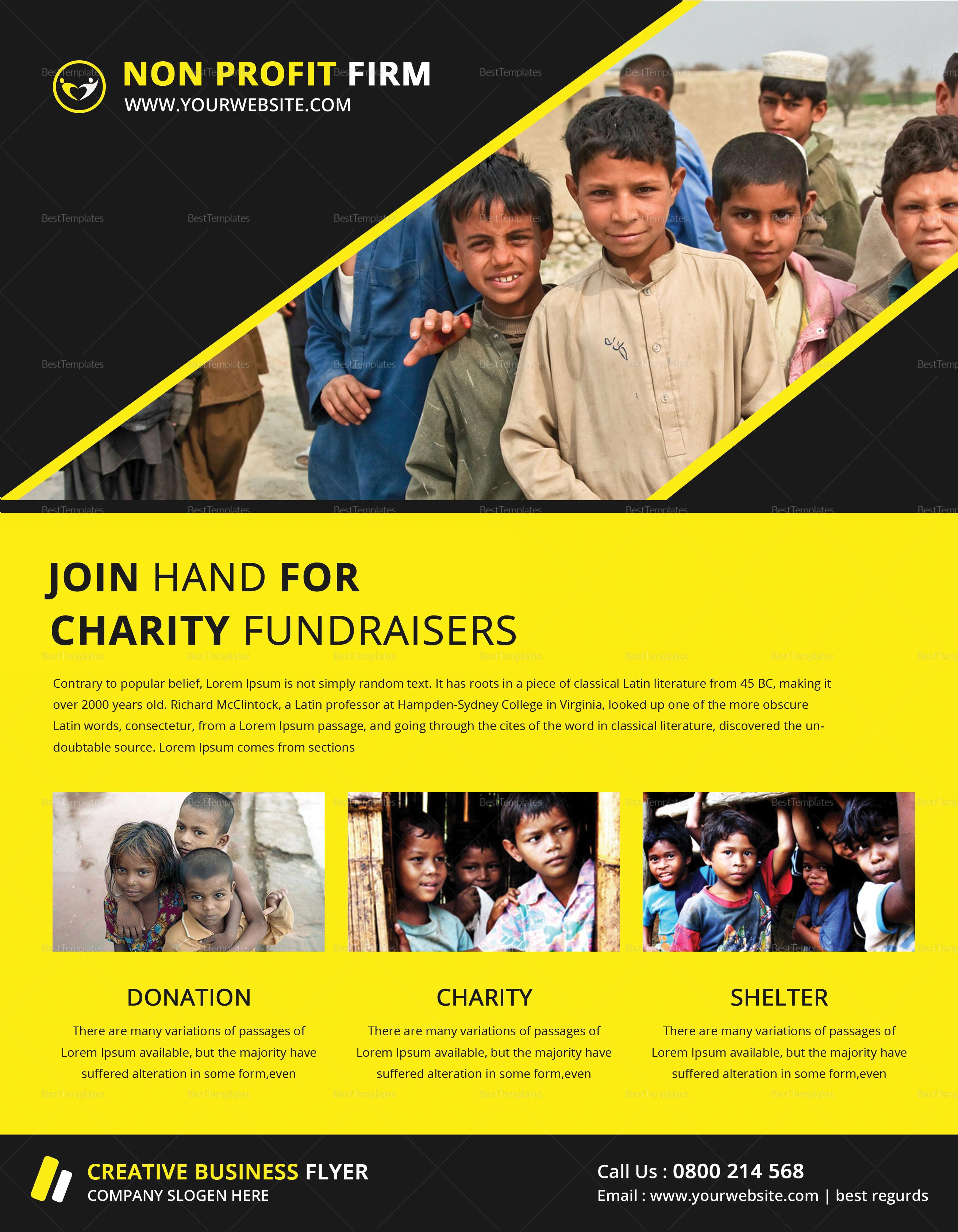 Charity Fundraiser Church Flyer Design Template