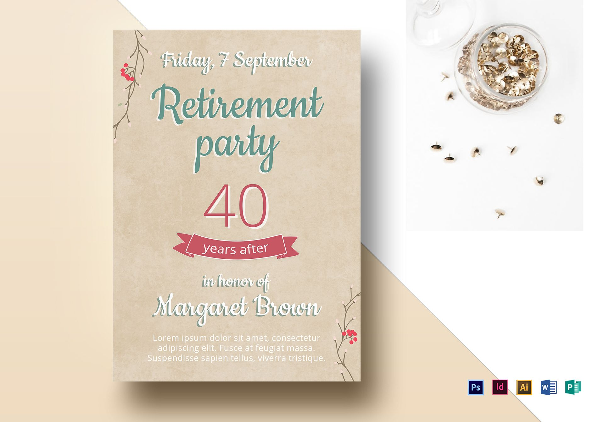 Retirement Party Flyer Design Template In Psd Word Publisher