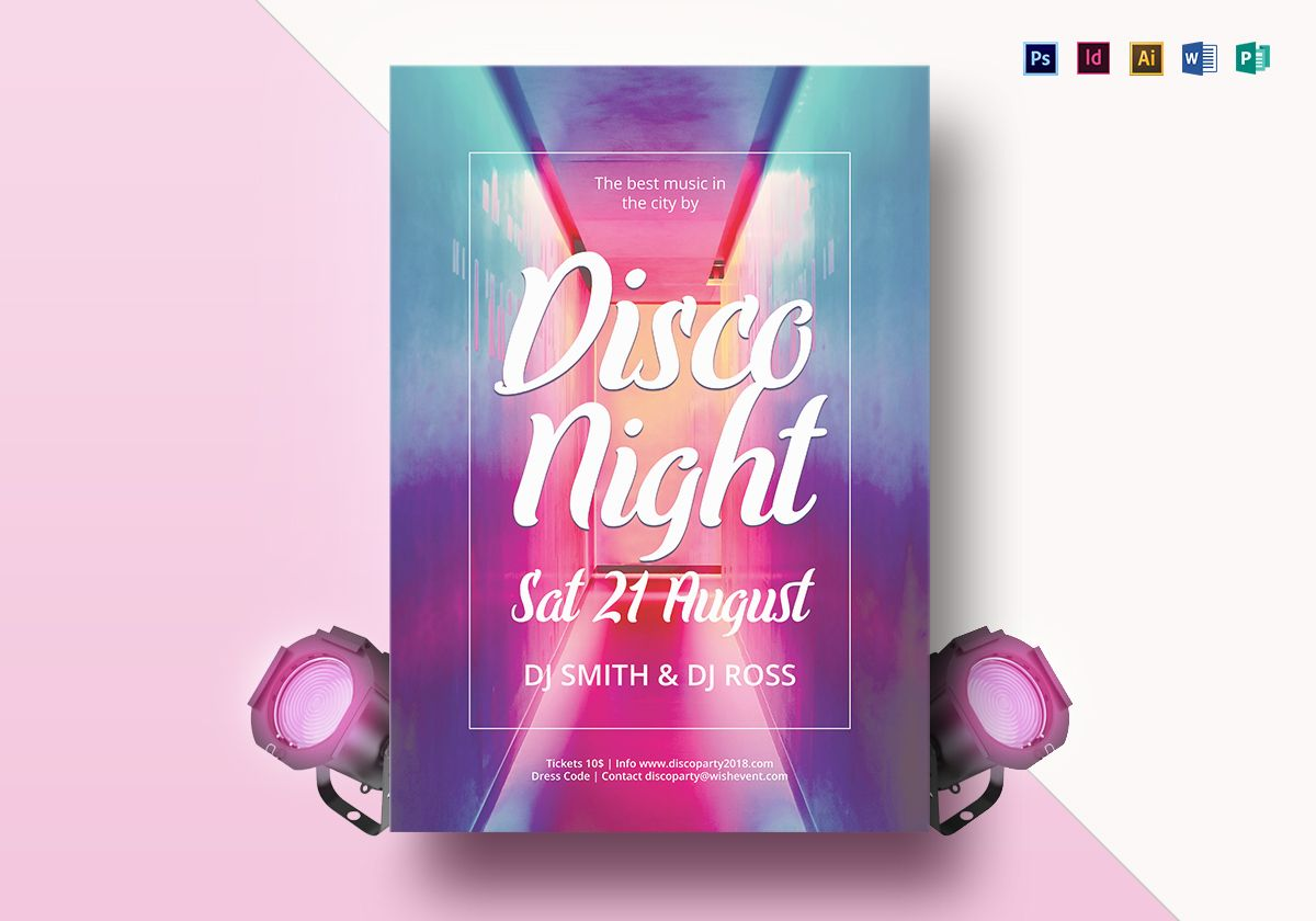 vibrant disco flyer design template in psd word publisher