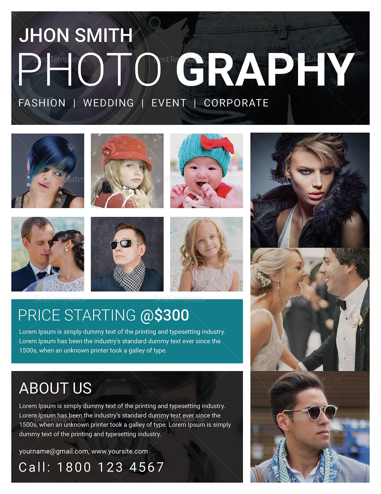 Modern Photography Flyer Design Template in Word, PSD, Publisher