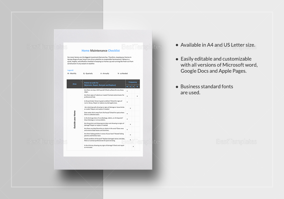 Sample Home Maintenance Checklist