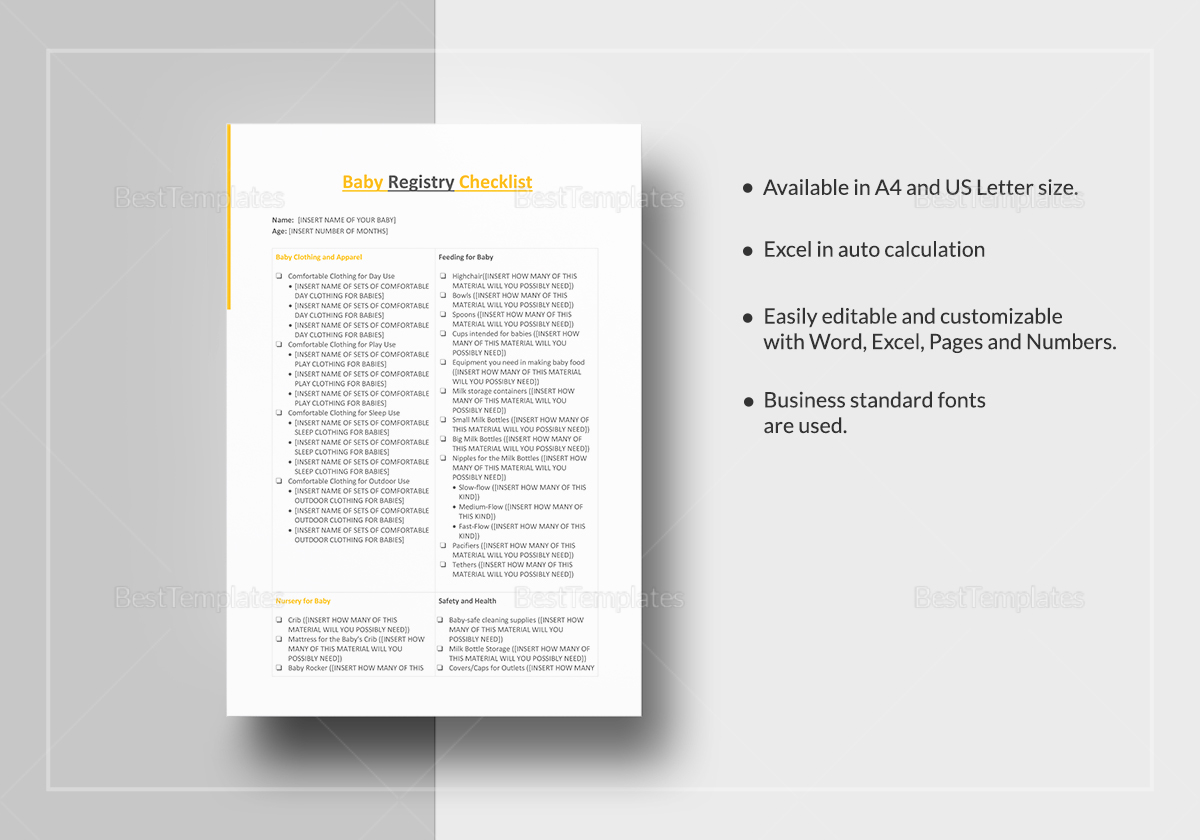 Sample Baby Registry Checklist Template