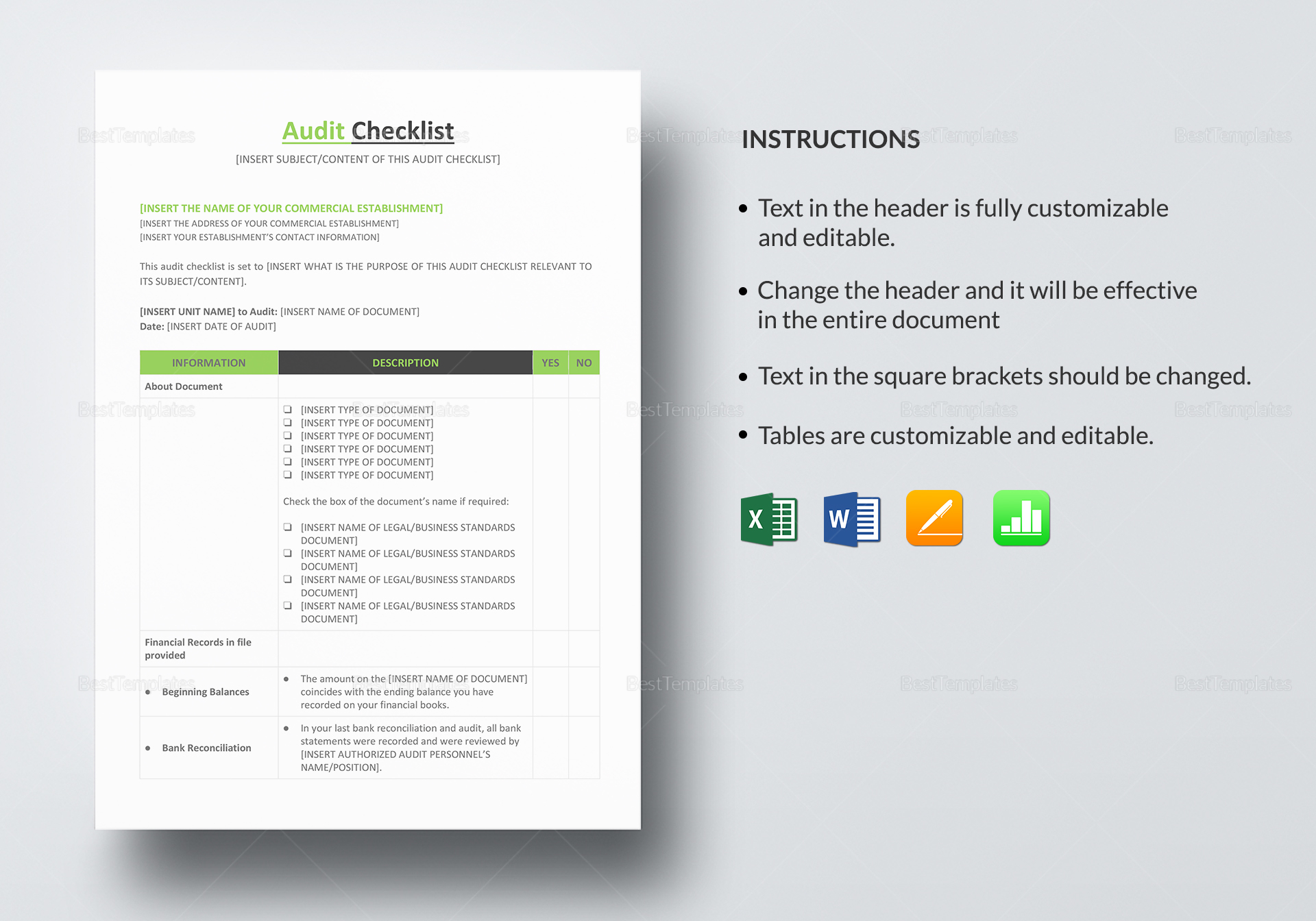 Audit Checklist Template to Print