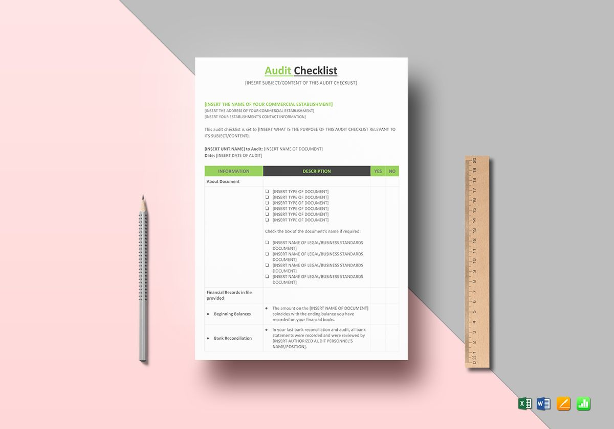 privacy audit template - audit checklist template in word excel apple pages numbers