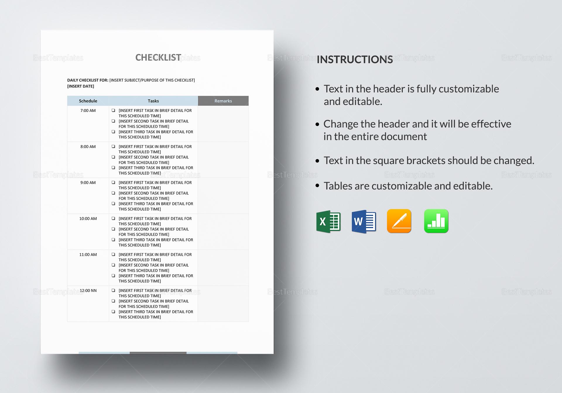Simple Checklist Template