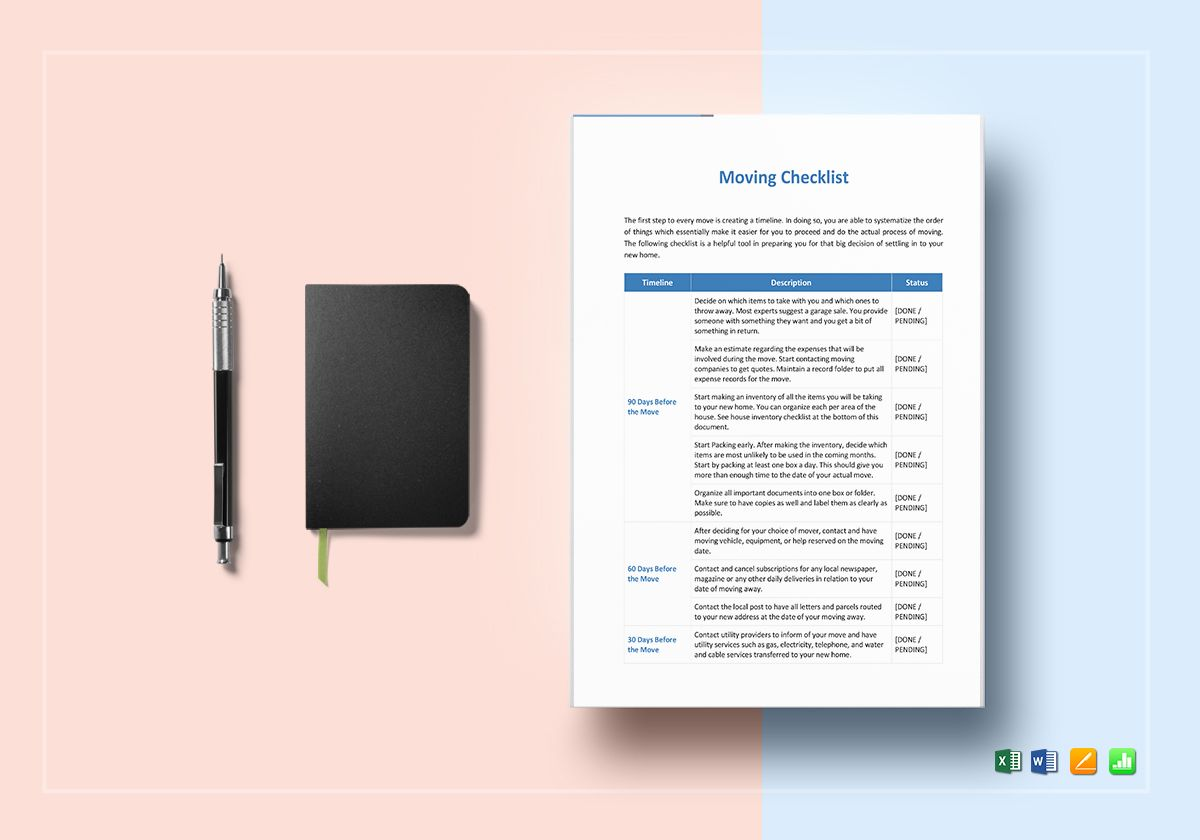 Moving Checklist Template In Word Excel Apple Pages Numbers