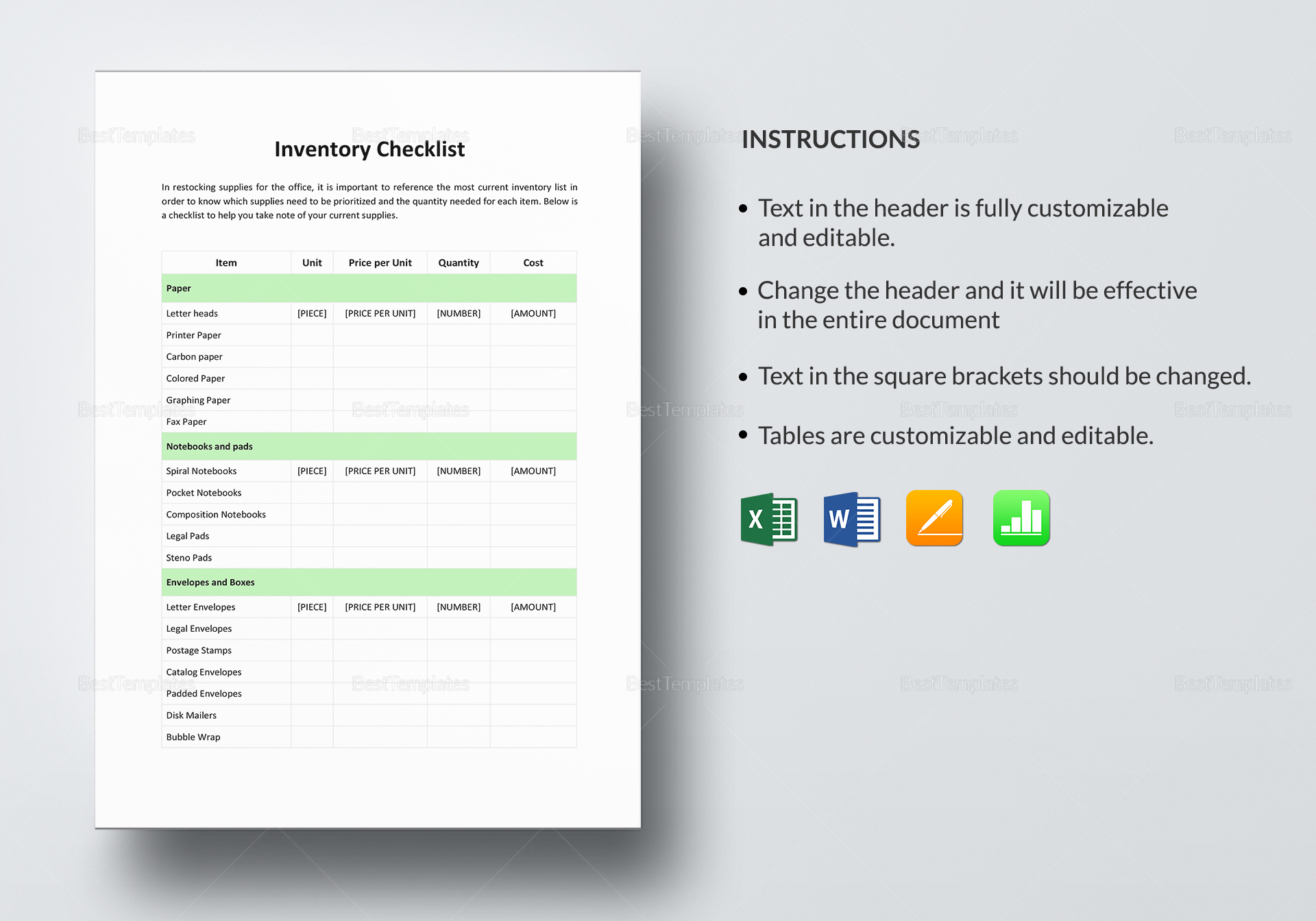 Inventory Checklist Template to Print